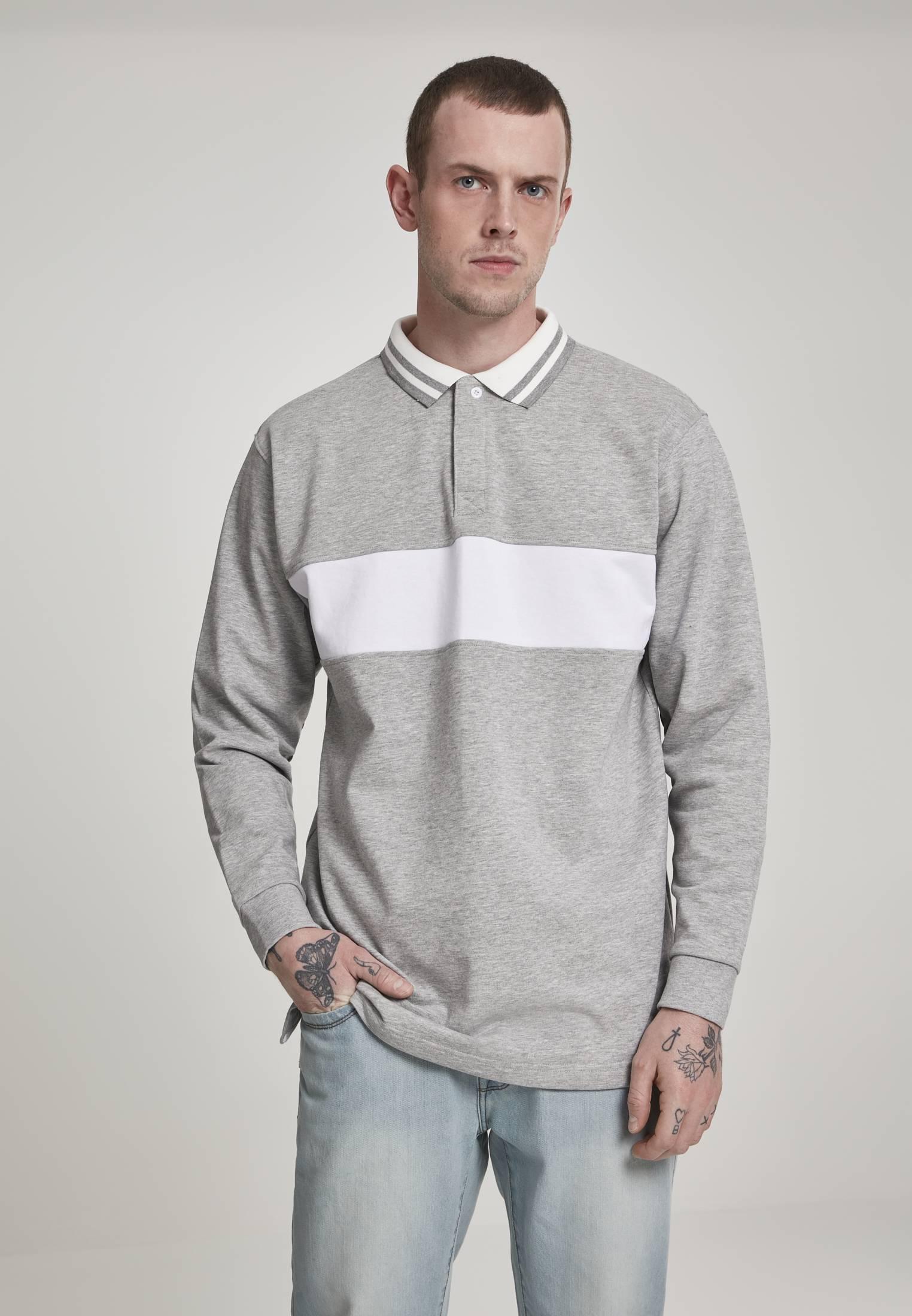 Urban Classics Rugby Panel Shirt grey/white - L