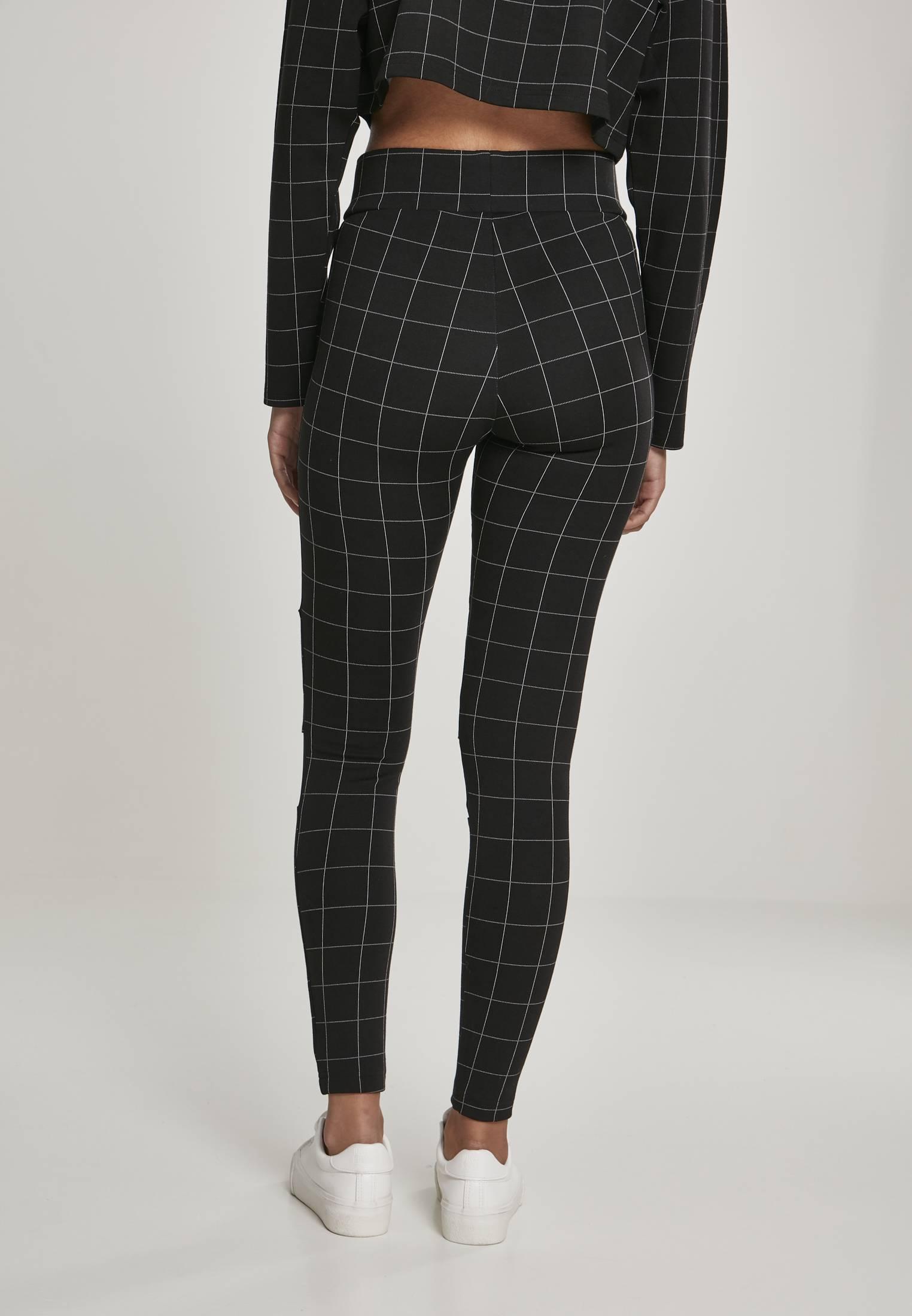 Urban Classics Check High Waist Leggings black/white - 3XL