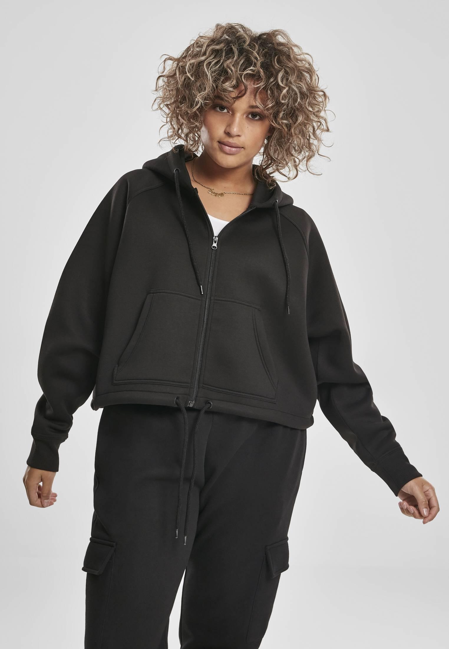 Urban Classics Ladies Oversized Short Raglan Zip Hoody black - 3XL