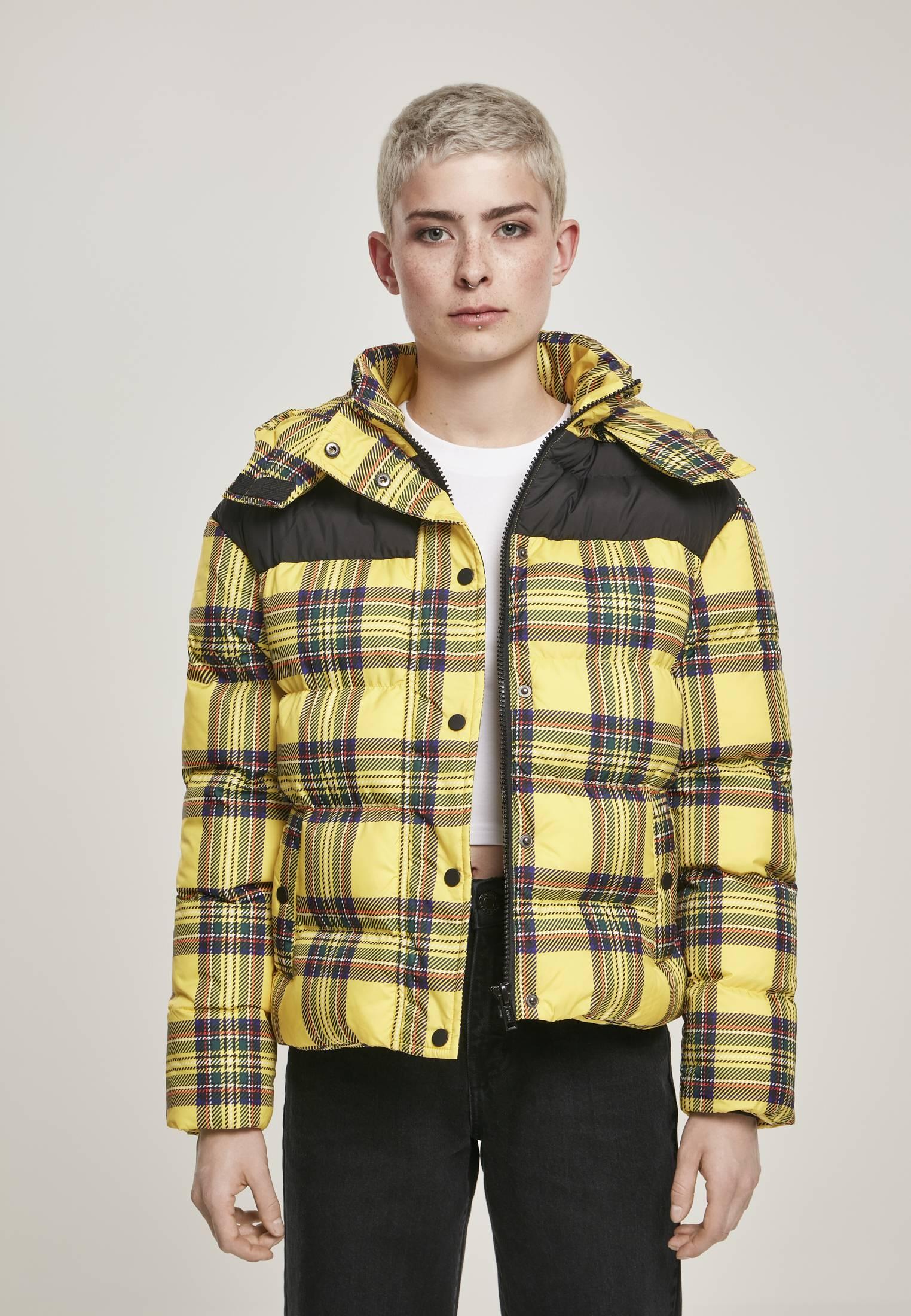 Urban Classics Ladies AOP 2-Tone Puffer Jacket brightyellow/blk - S