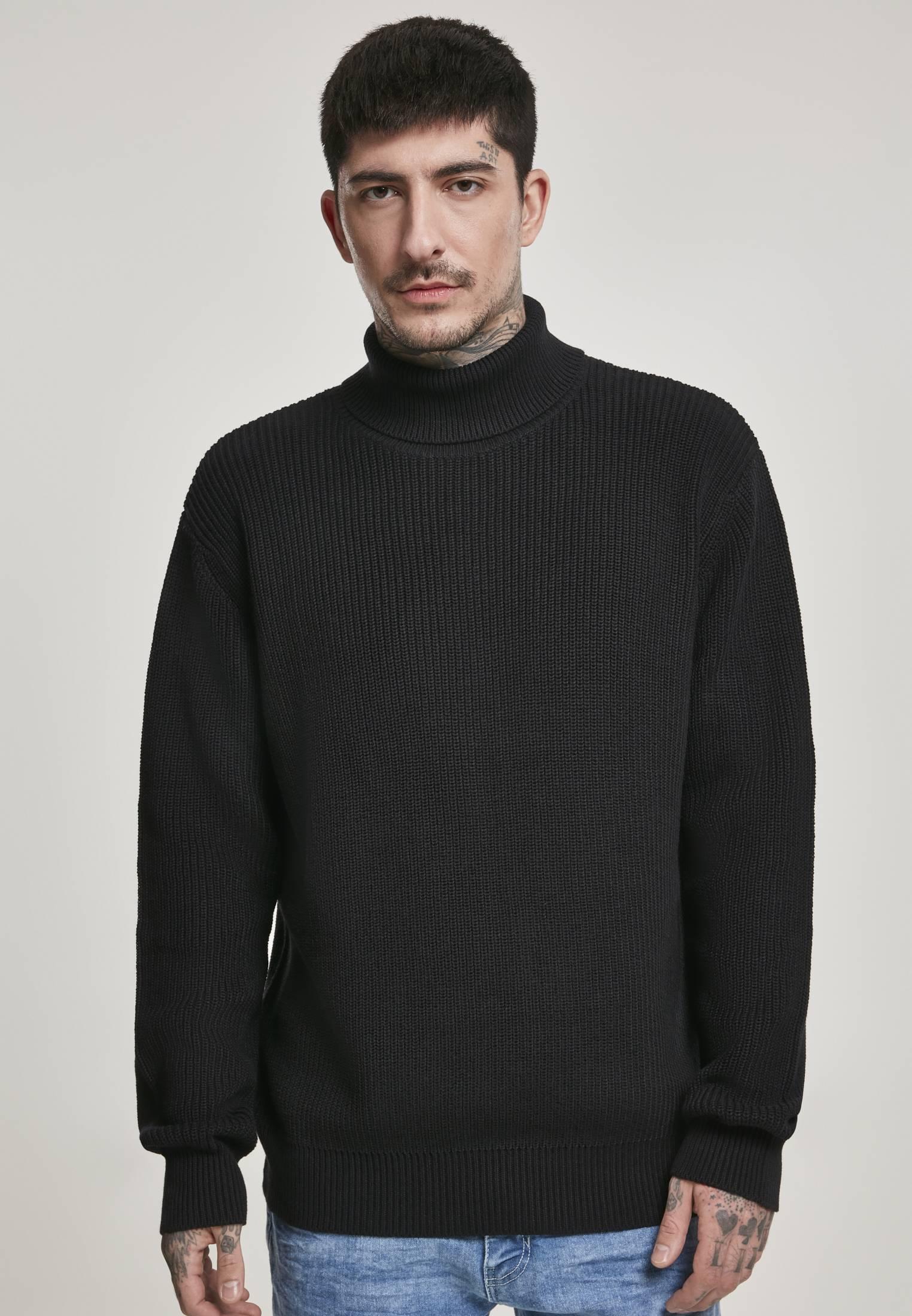 Urban Classics Cardigan Stitch Roll Neck Sweater black - XXL
