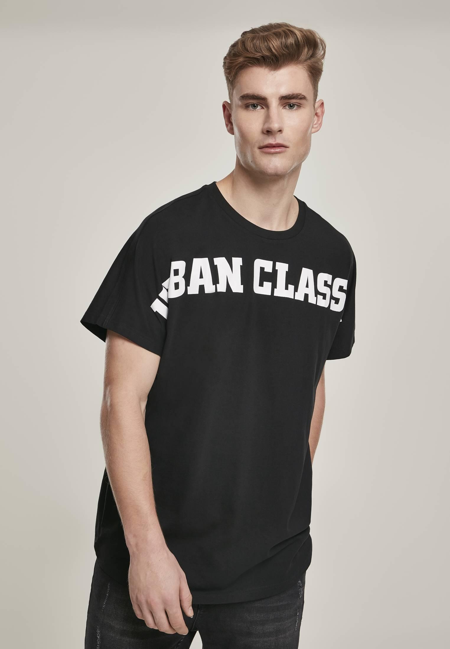 Urban Classics Long Shaped Big Logo Tee black - XS