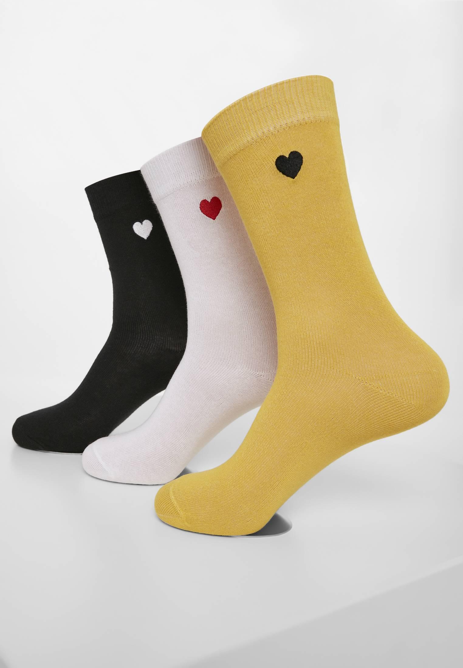 Urban Classics Heart Socks 3-Pack black/white/yellow - 39-42
