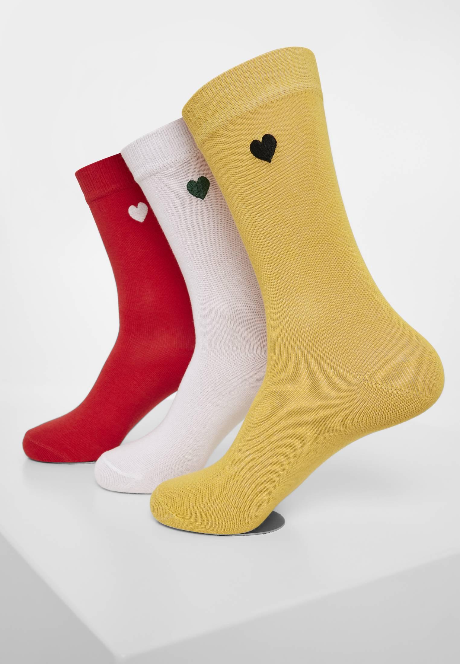 Urban Classics Heart Socks 3-Pack yellow/red/white - 39-42