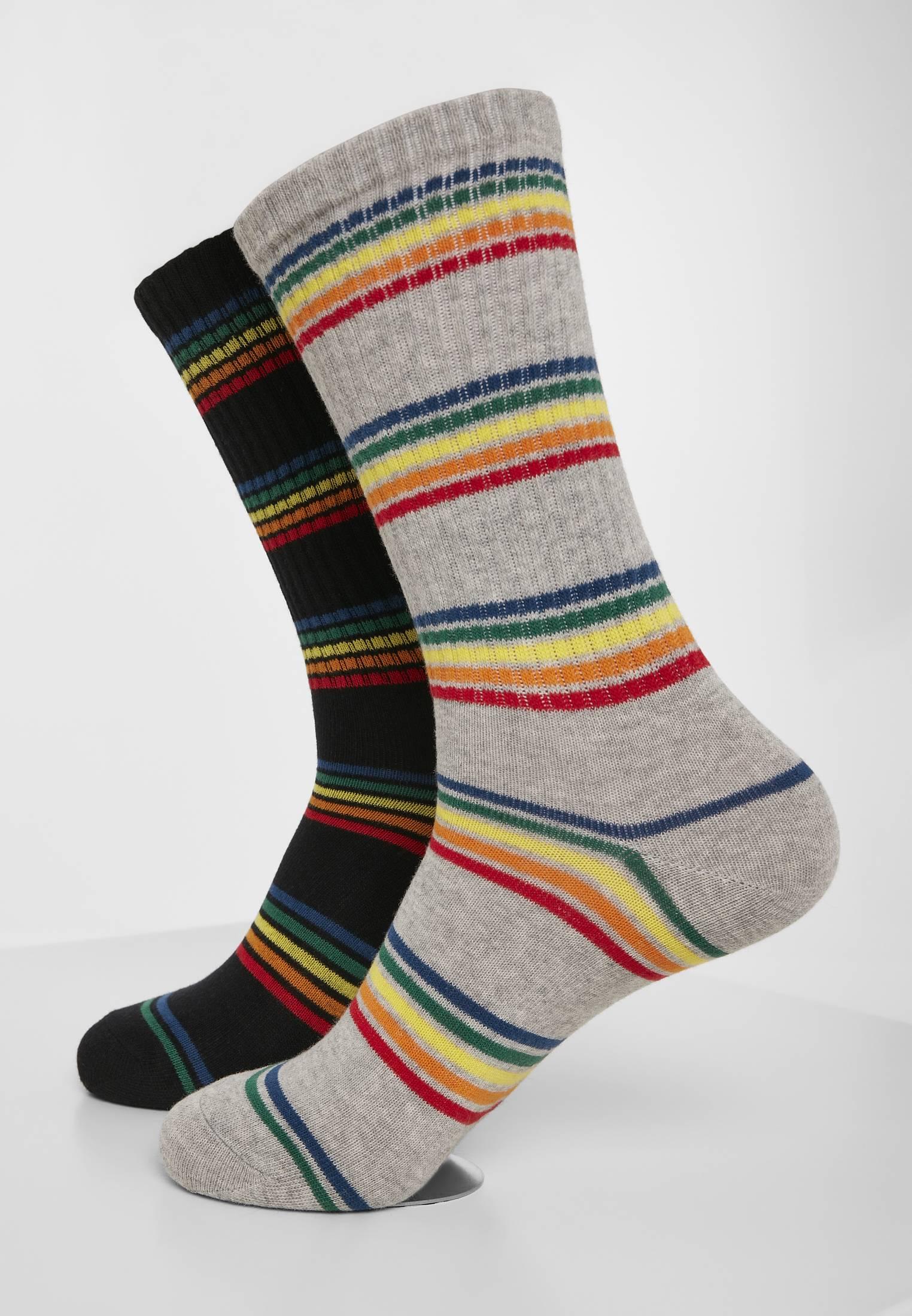 Urban Classics Rainbow Stripes Socks 2-Pack black/grey - 47-50
