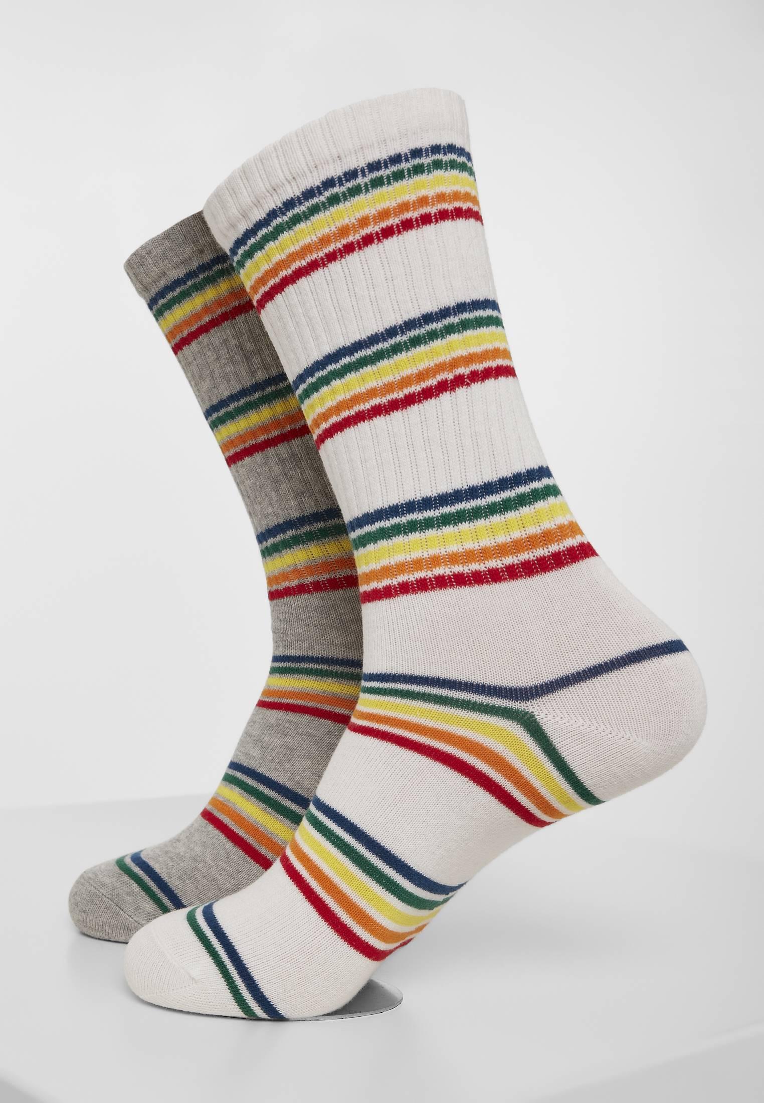 Urban Classics Rainbow Stripes Socks 2-Pack grey/white - 47-50
