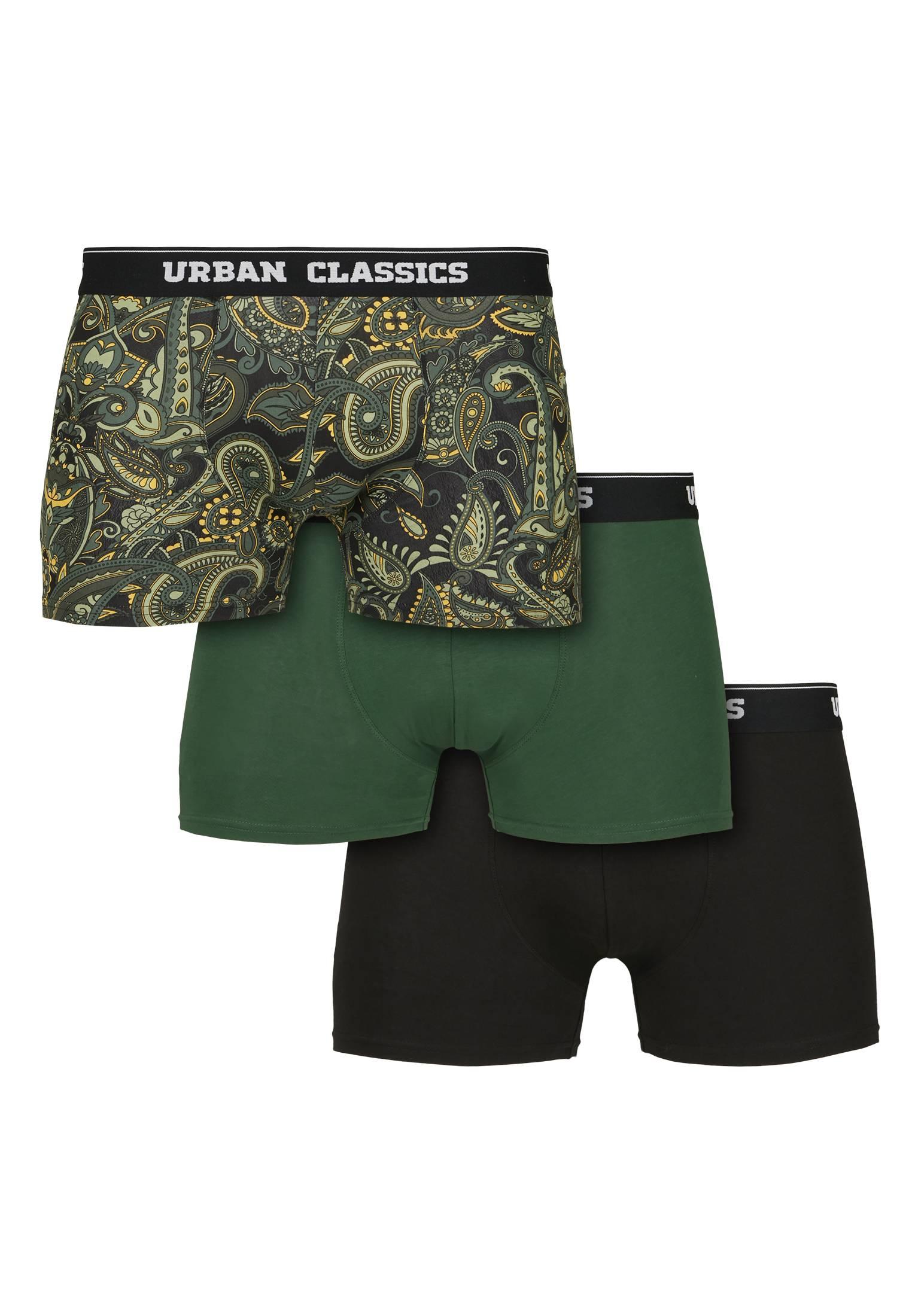 Urban Classics Boxer Shorts 3-Pack darkgreen/paisley/black - L