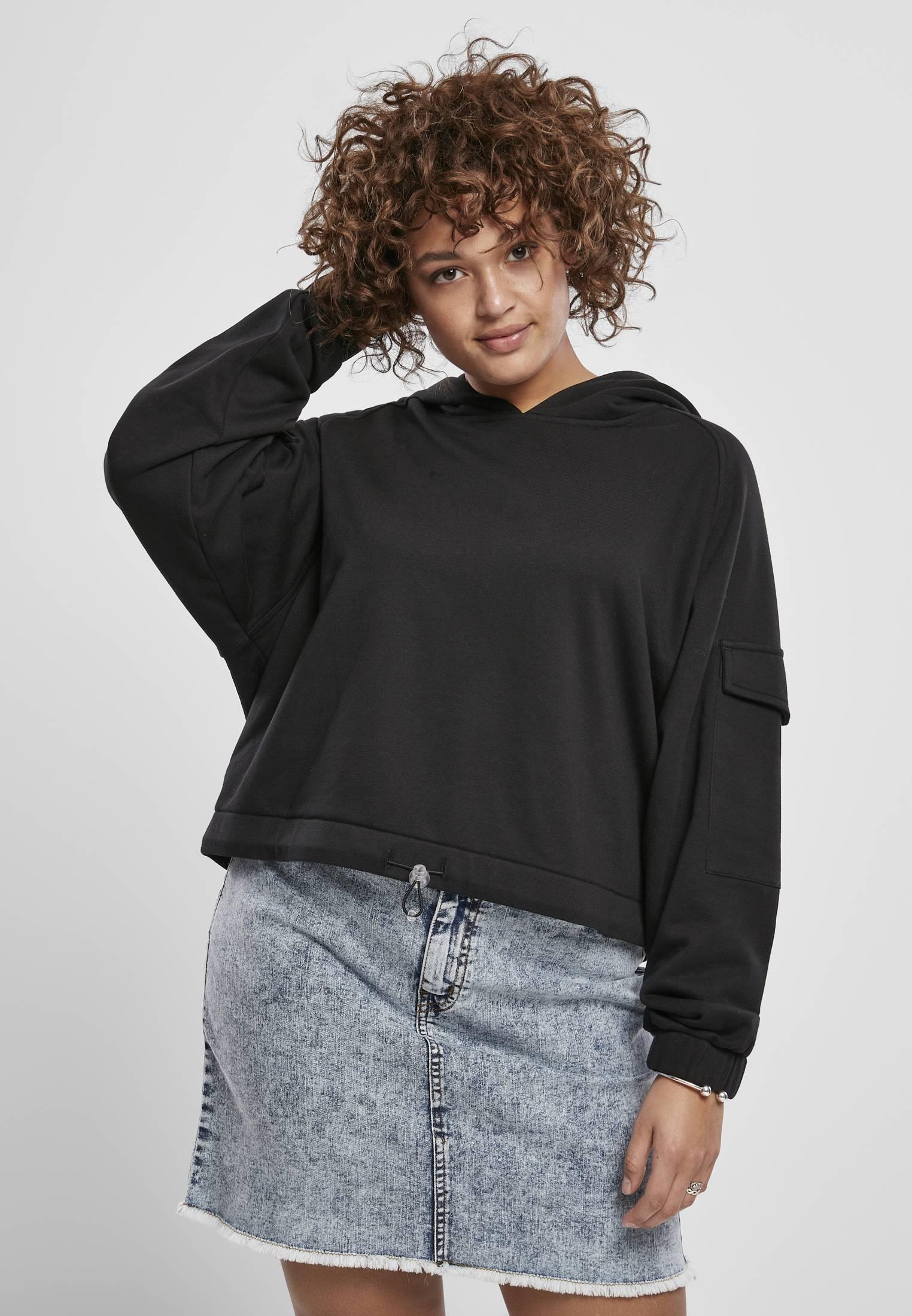 Urban Classics Ladies Short Worker Hoody black - S