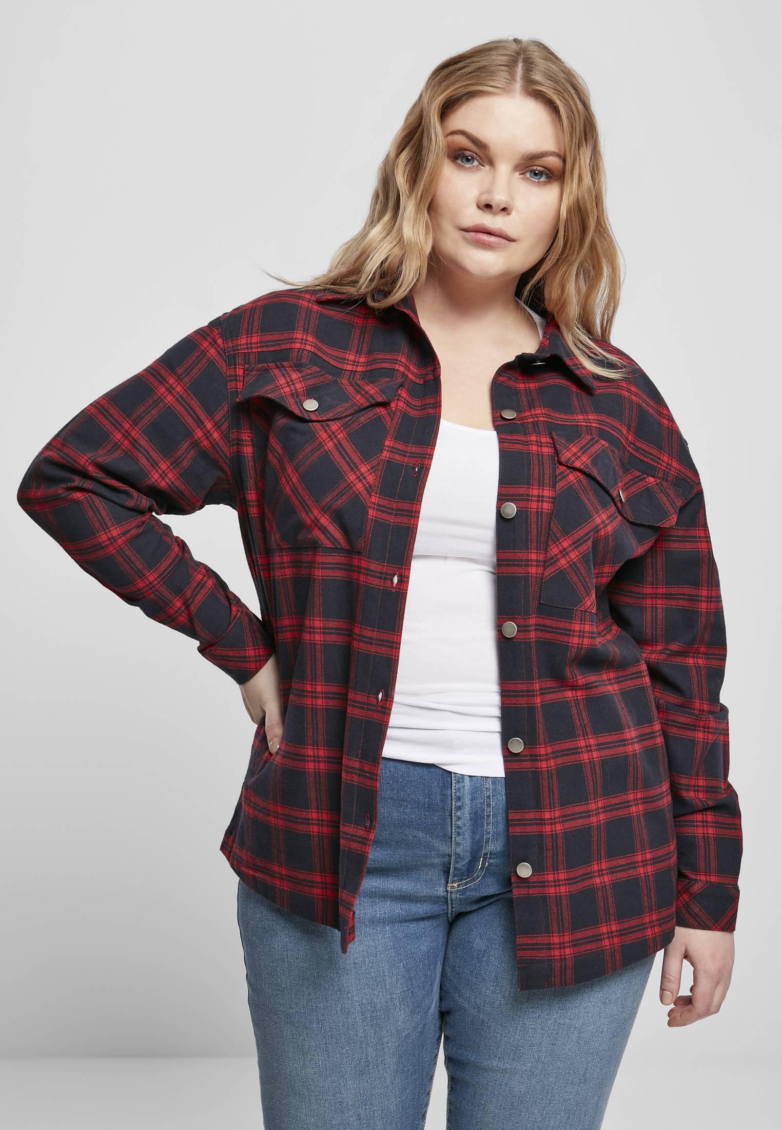 Urban Classics Ladies Oversized Overshirt midnightnavy/red - XS