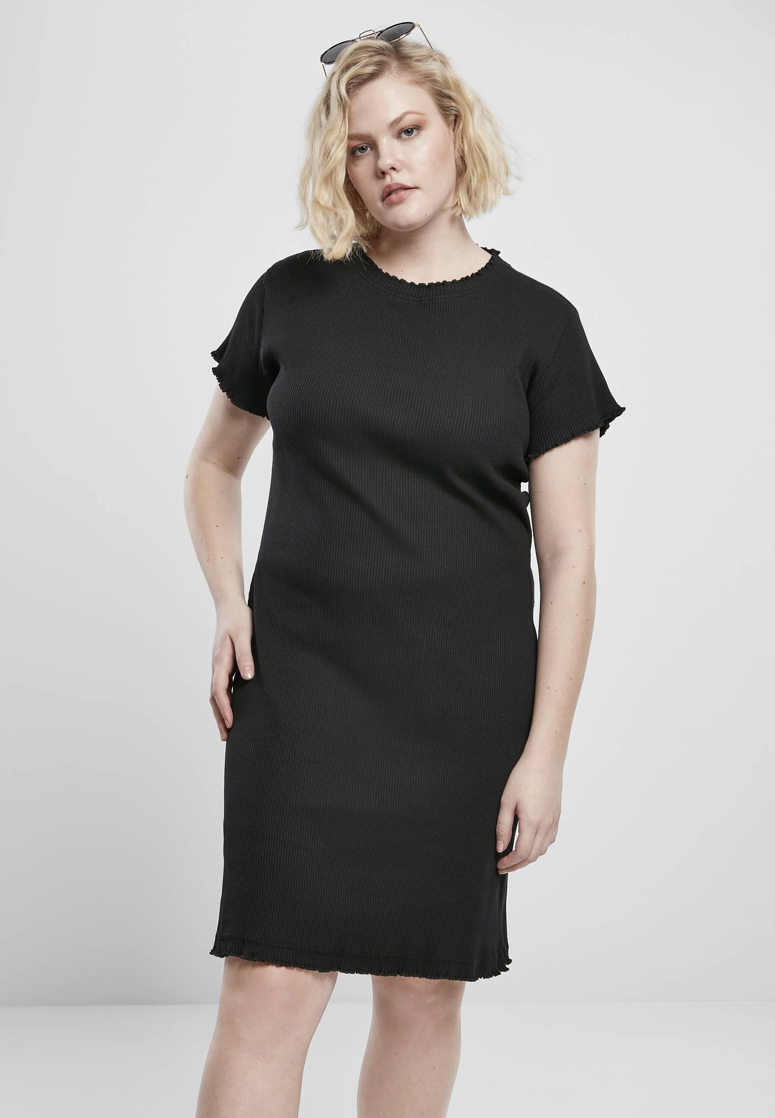 Urban Classics Ladies Rib Tee Dress black - 3XL