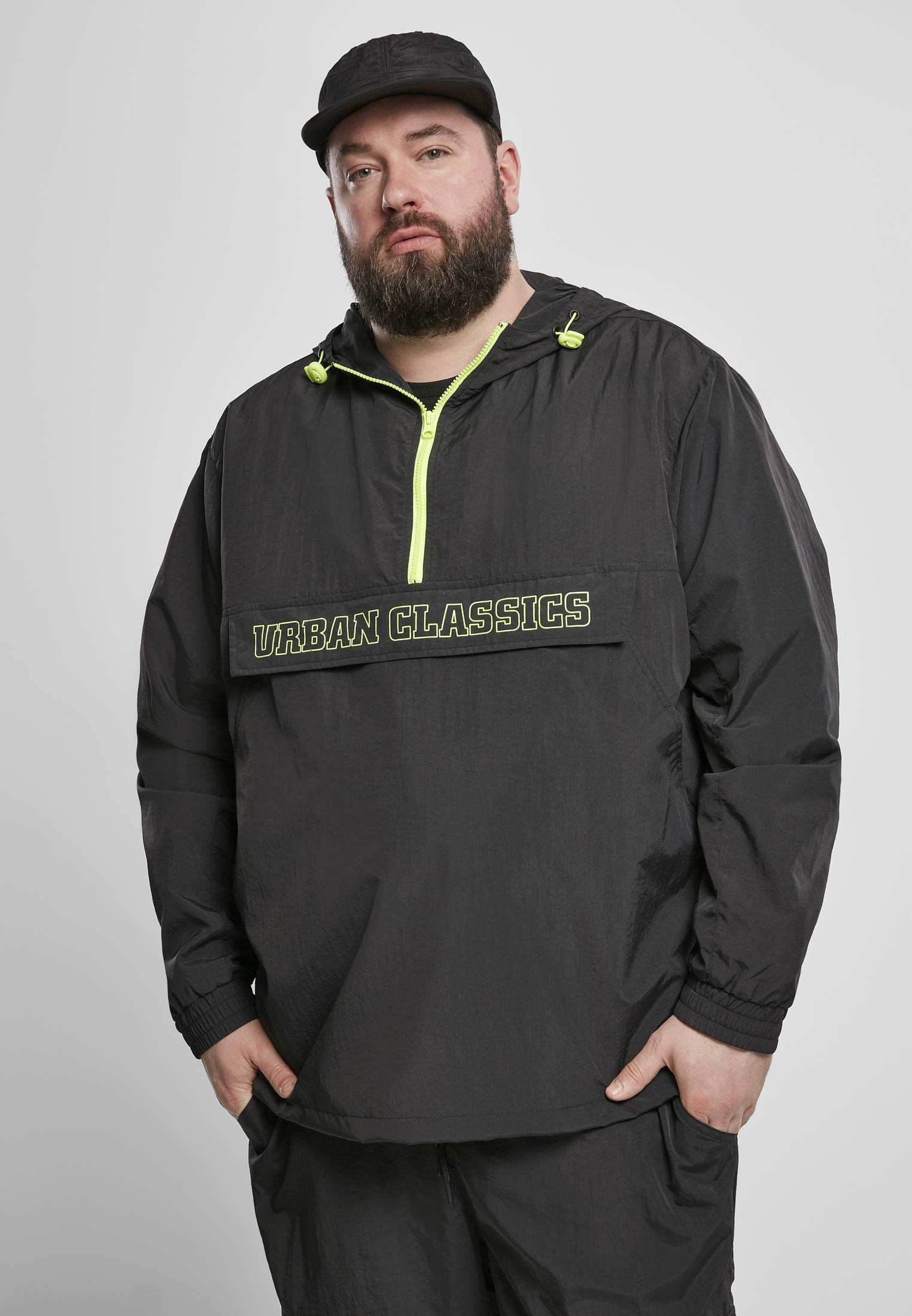 Urban Classics Contrast Pull Over Jacket black/electriclime - 3XL