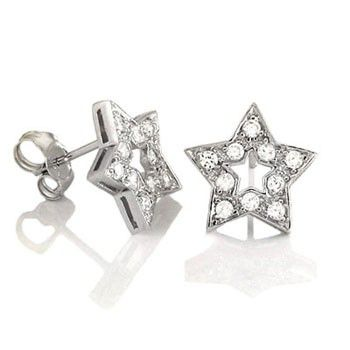 Iced Out Sterling 925 Silver Earrings - STAR 12mm - Uni / strieborná