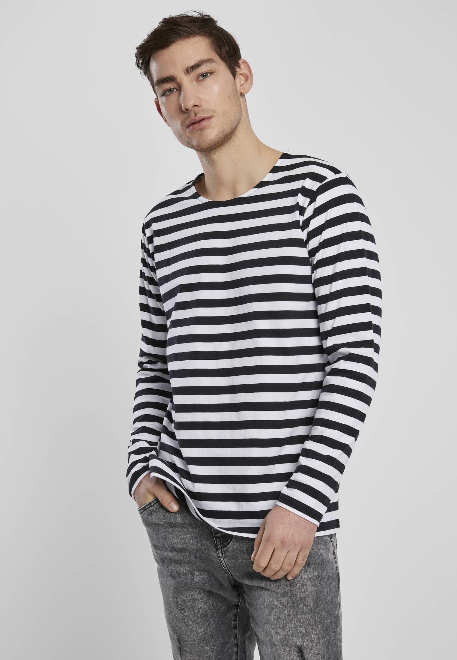 Urban Classics Regular Stripe LS white/black - L