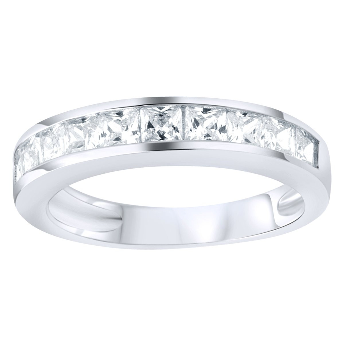 Iced Out Sterling 925 Silver Pave Ring - Princess Zirconia - 10
