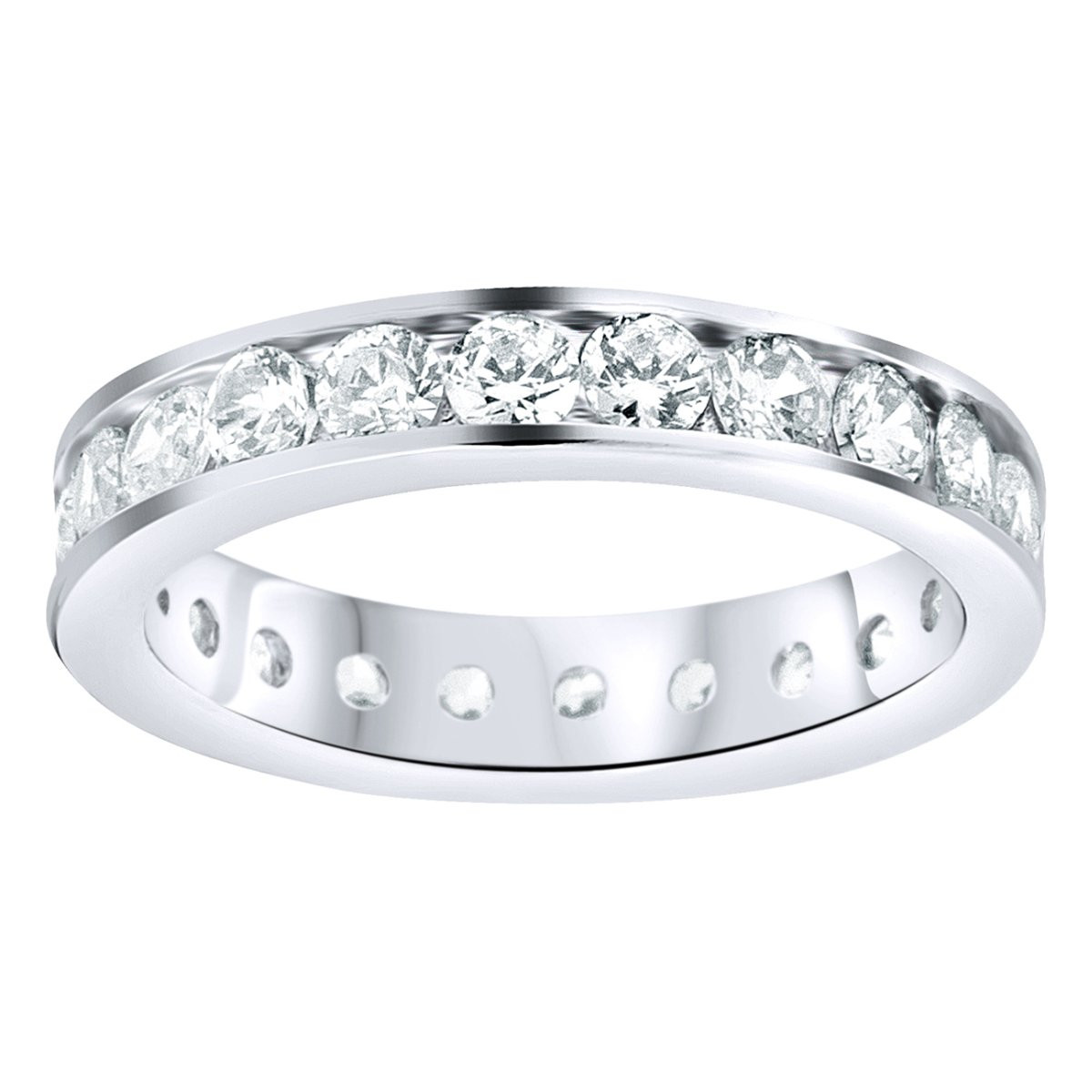 Iced Out Sterling 925 Silver Eternity Ring - Channel Set - 10