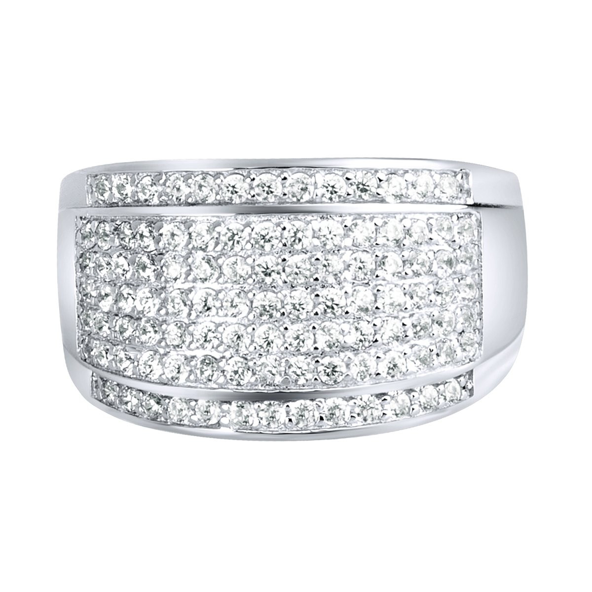 Iced Out Sterling 925 Silver Pave Ring - ROUND ICE - 10