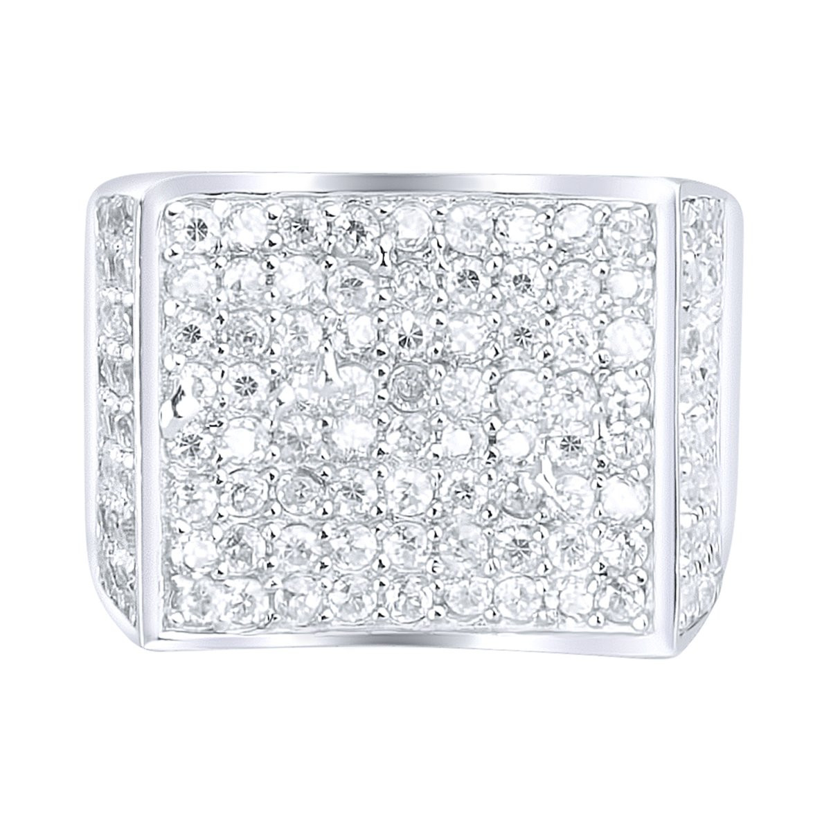 Iced Out Sterling 925er Silber Pave Ring - CURVED - 10