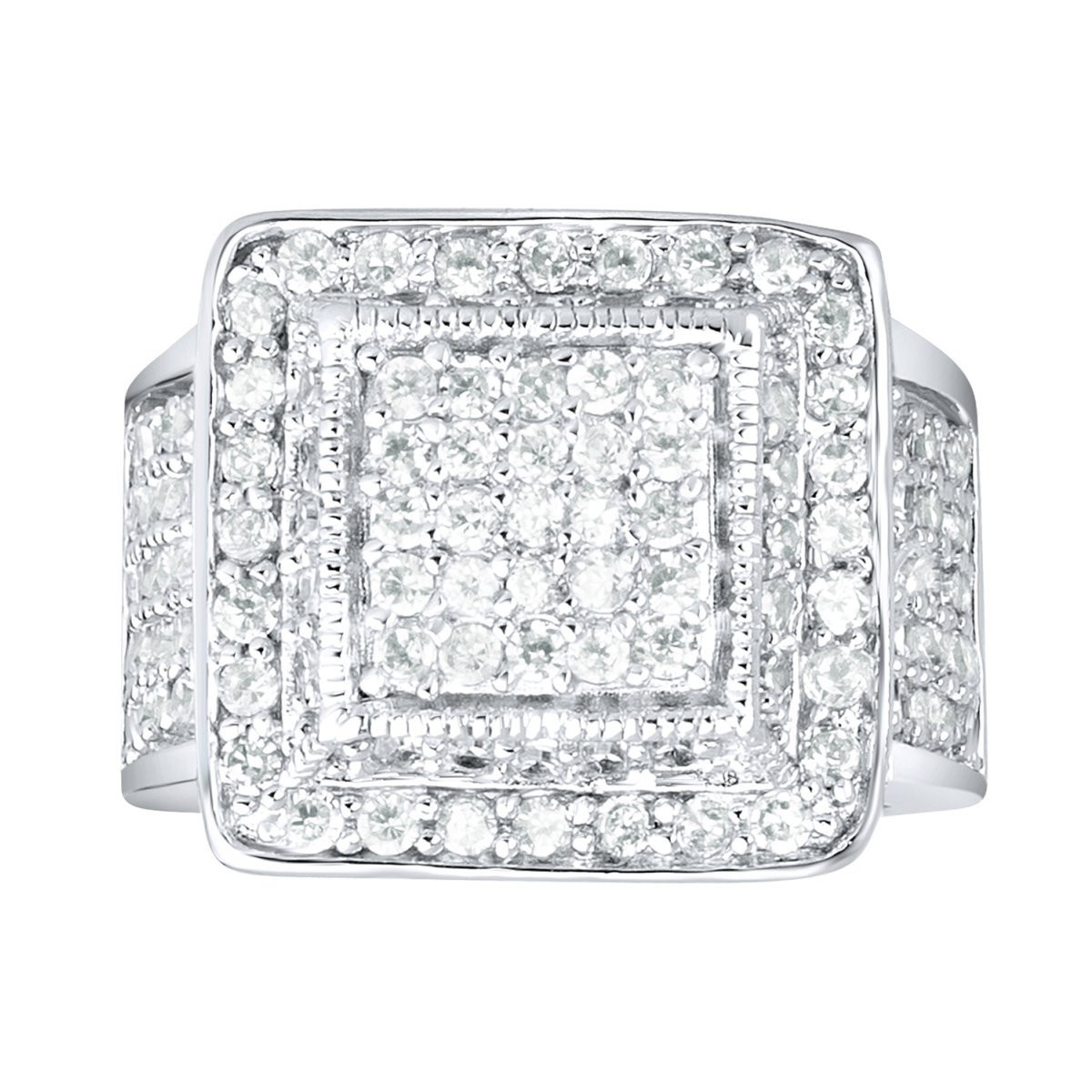 Iced Out Sterling 925 Silver Pave Ring - KING BLING - 10