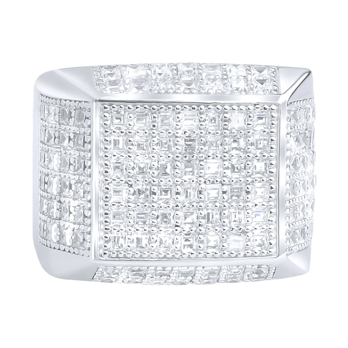 Iced Out Sterling 925 Silver Pave Ring - ARTS - 10