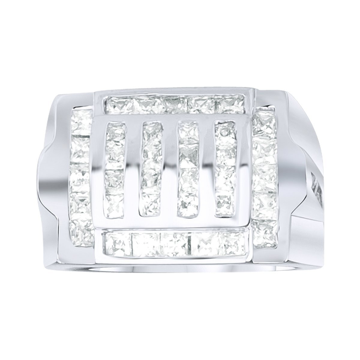 Iced Out Sterling 925er Silber Pave Ring - GRILL - 10