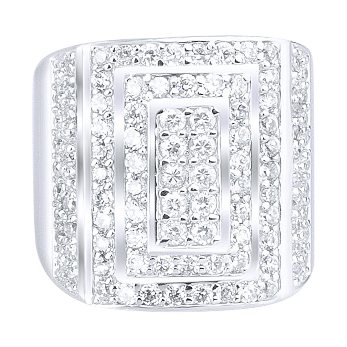 Iced Out Sterling 925er Silber Pave Ring - LONG ICE - 10