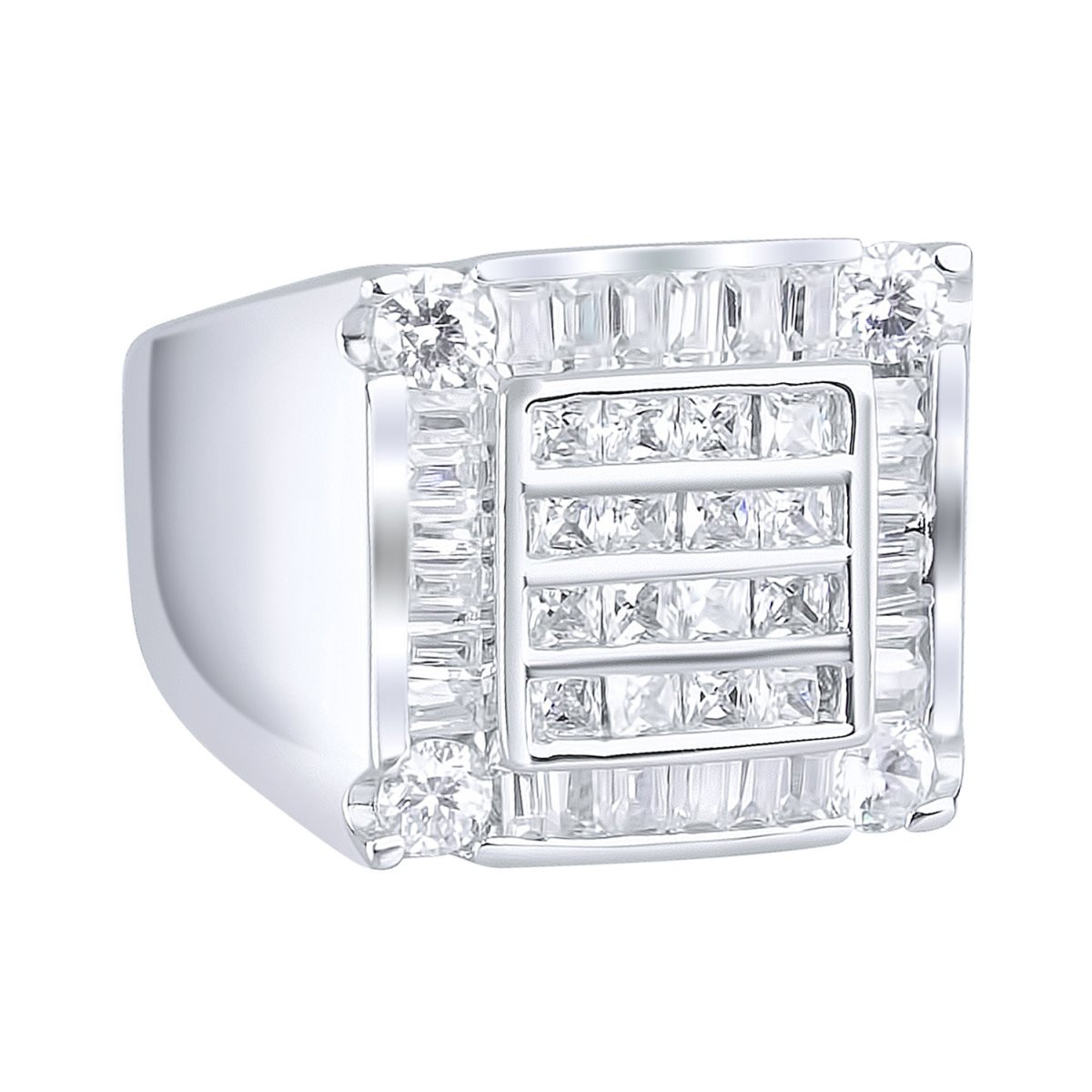 Iced Out Sterling 925er Silber Pave Ring - CUBE - 10