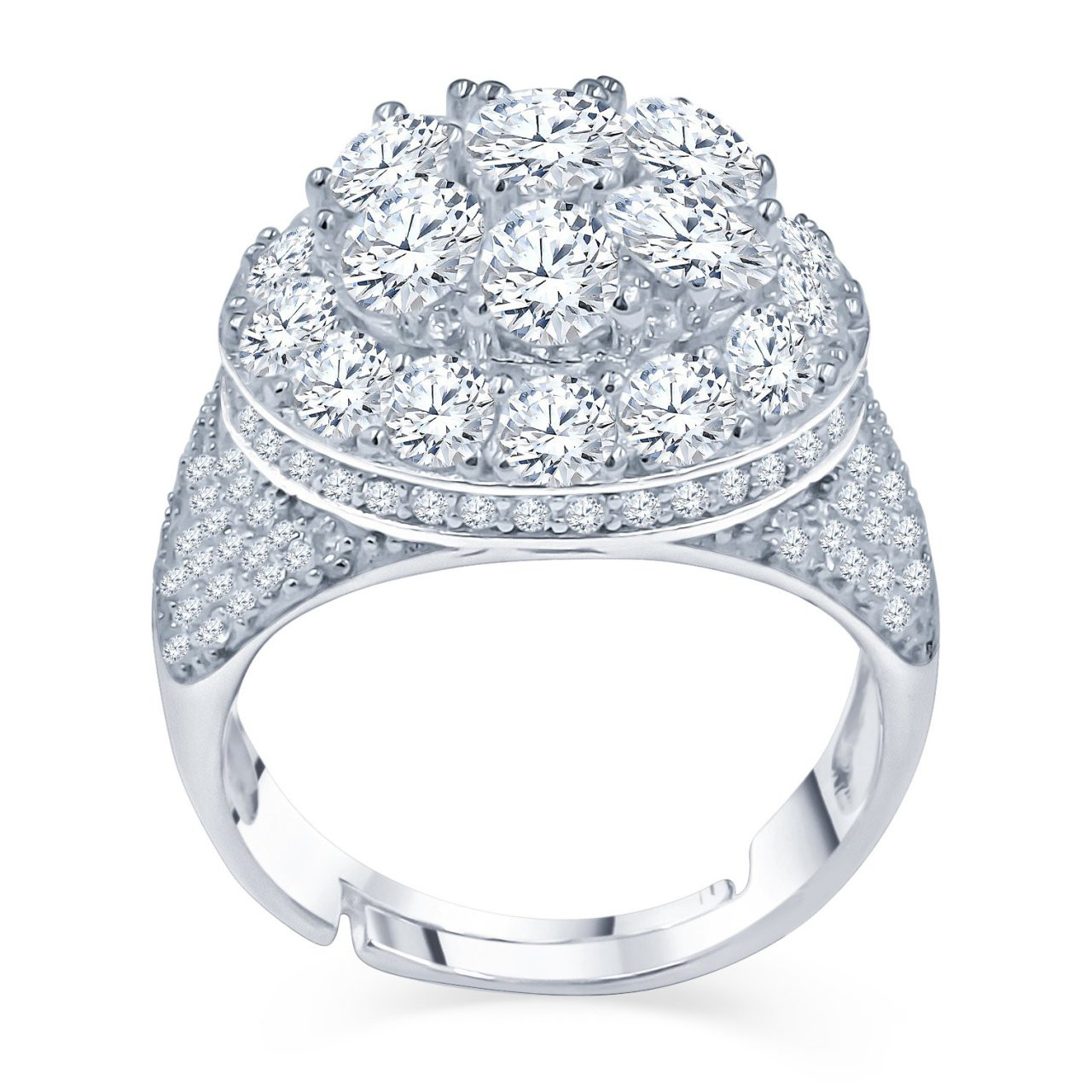 Iced Out Sterling 925er Silber Micro Pave Ring - ANGELIC - 10