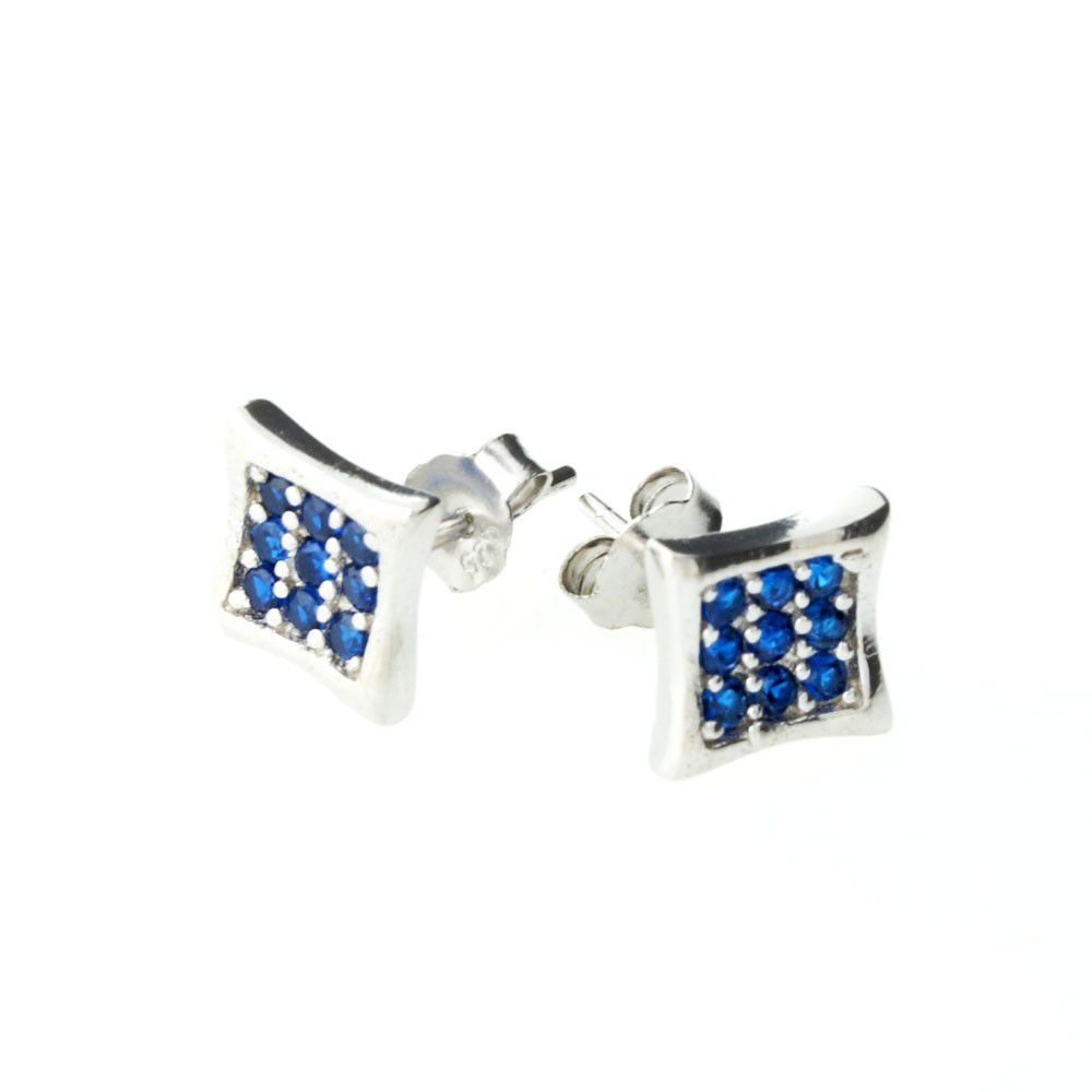 Iced Out Sterling 925 Silver Earrings - CRYSTAL 8mm blue - Uni / strieborná