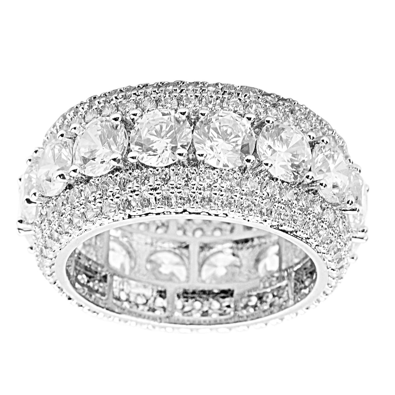 Iced Out Sterling 925er Silber Micro Pave Ring - BRIM - 10