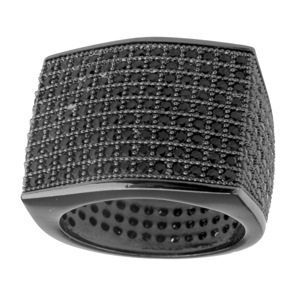 Iced Out Bling Micro Pave Ring - BLOCK black - 7