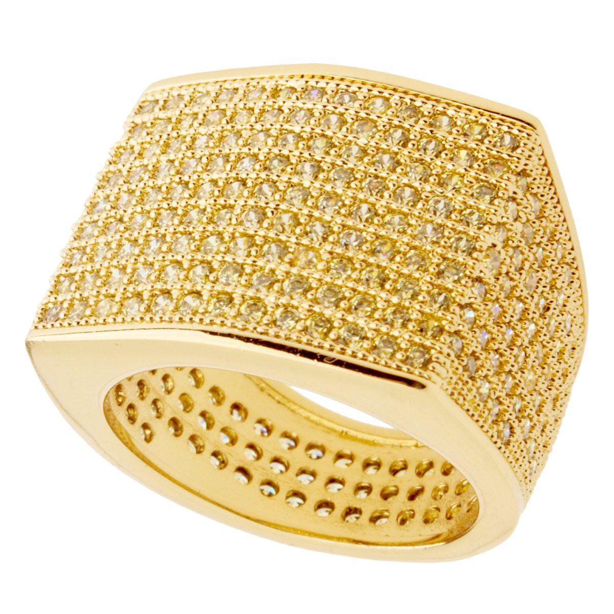 Iced Out Bling Micro Pave Ring - BLOCK gold - 10