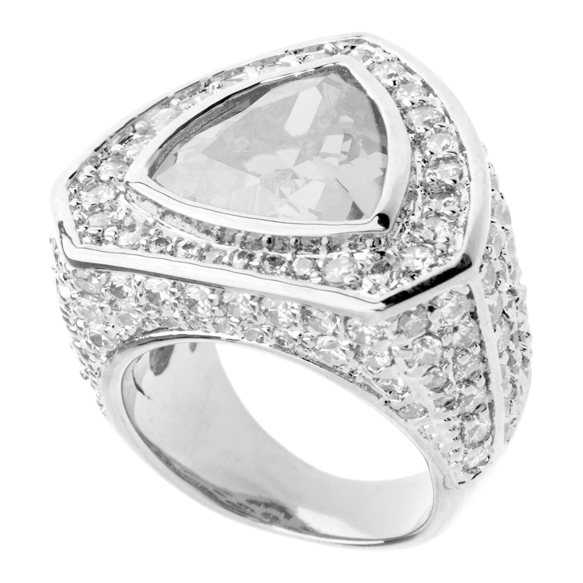 Iced Out Bling Micro Pave Ring - TRILLION Silver - 10