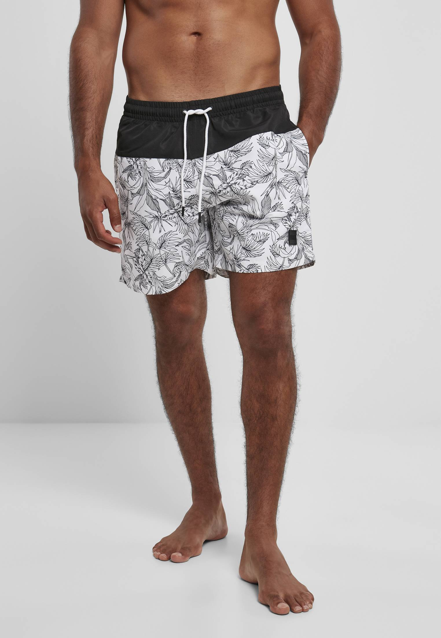 Urban Classics Low Block Pattern Swim Shorts jungle pattern/black - S