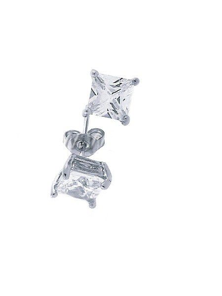 Iced Out Silver Bling Earrings - 4x4mm