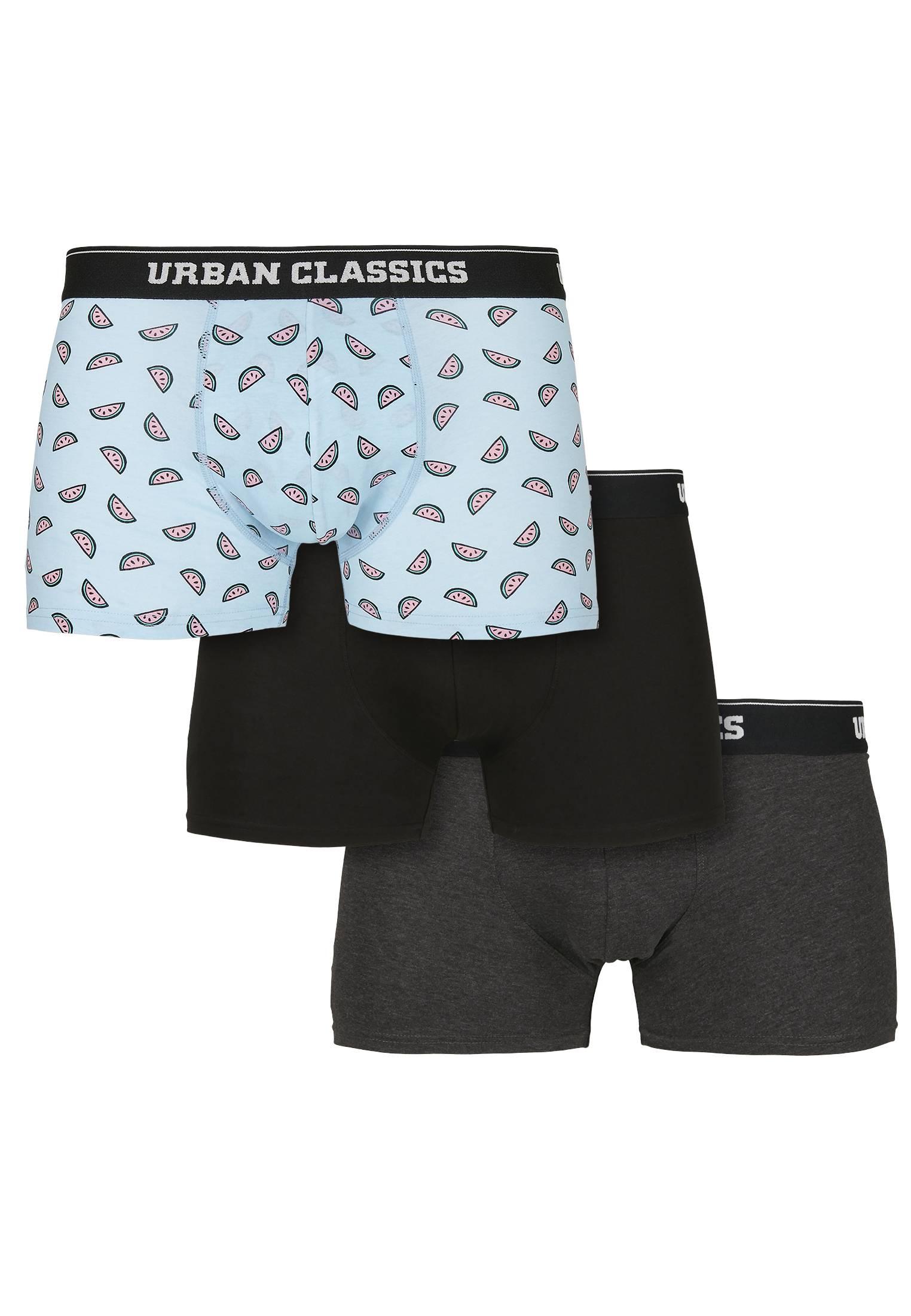 Urban Classics Boxer Shorts 3-Pack melon aop+cha+blk - 4XL