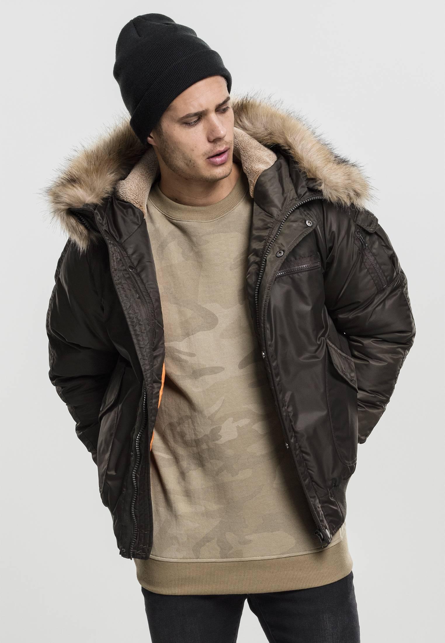 Urban Classics Hooded Heavy Fake Fur Bomber Jacket dark olive - S