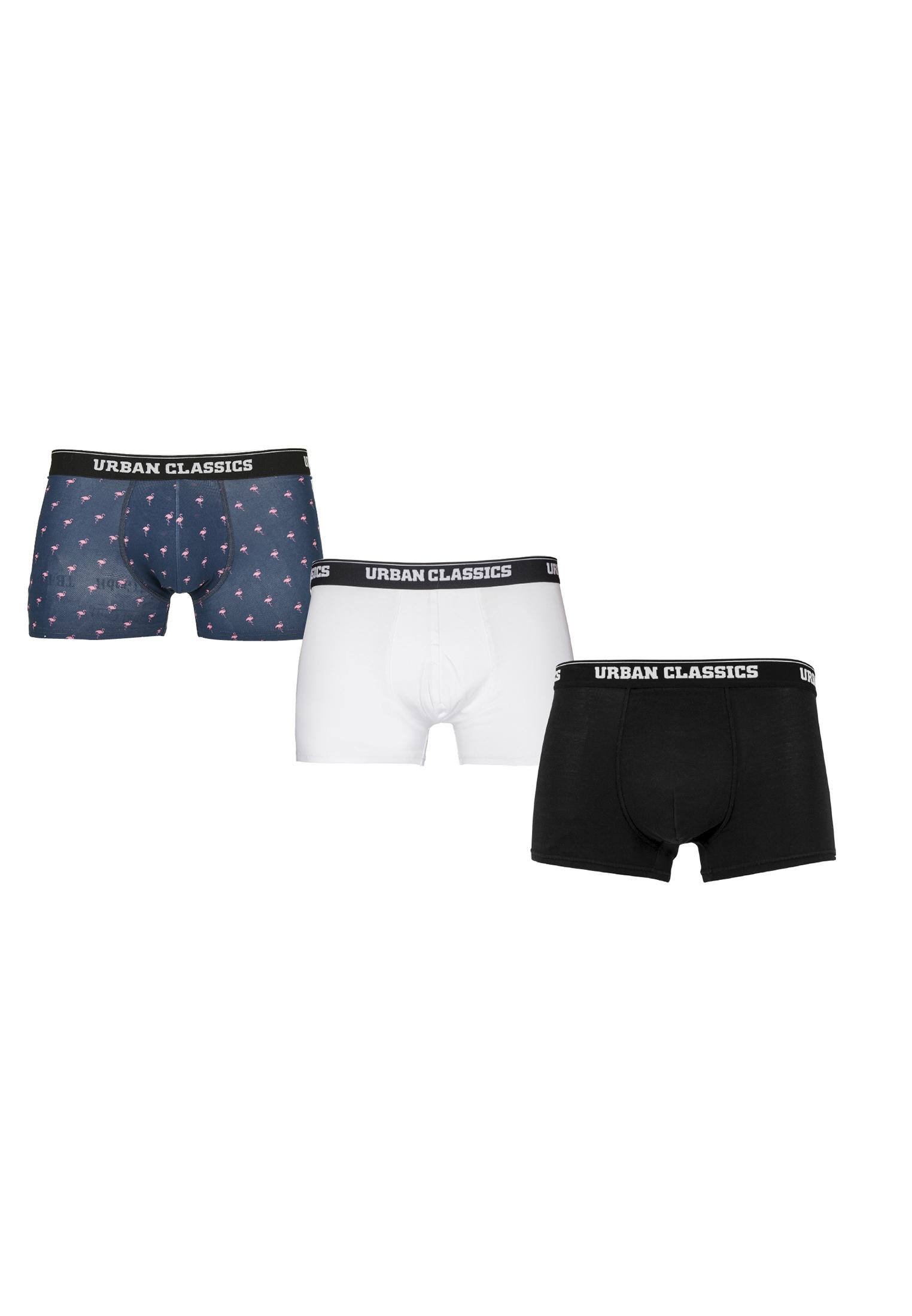 Urban Classics Boxer Shorts 3-Pack flamingo aop+wht+blk - 3XL