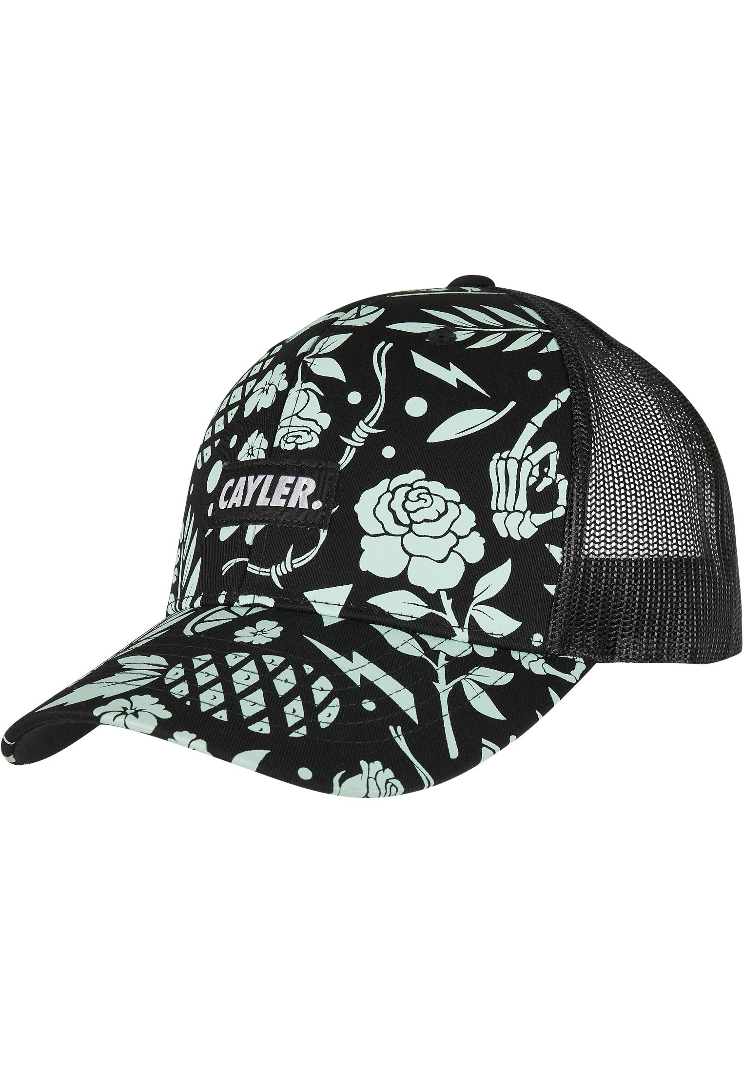 Urban Classics C&S WL Statement Leaves N Wires Curved Trucker Cap black/mint - One Size