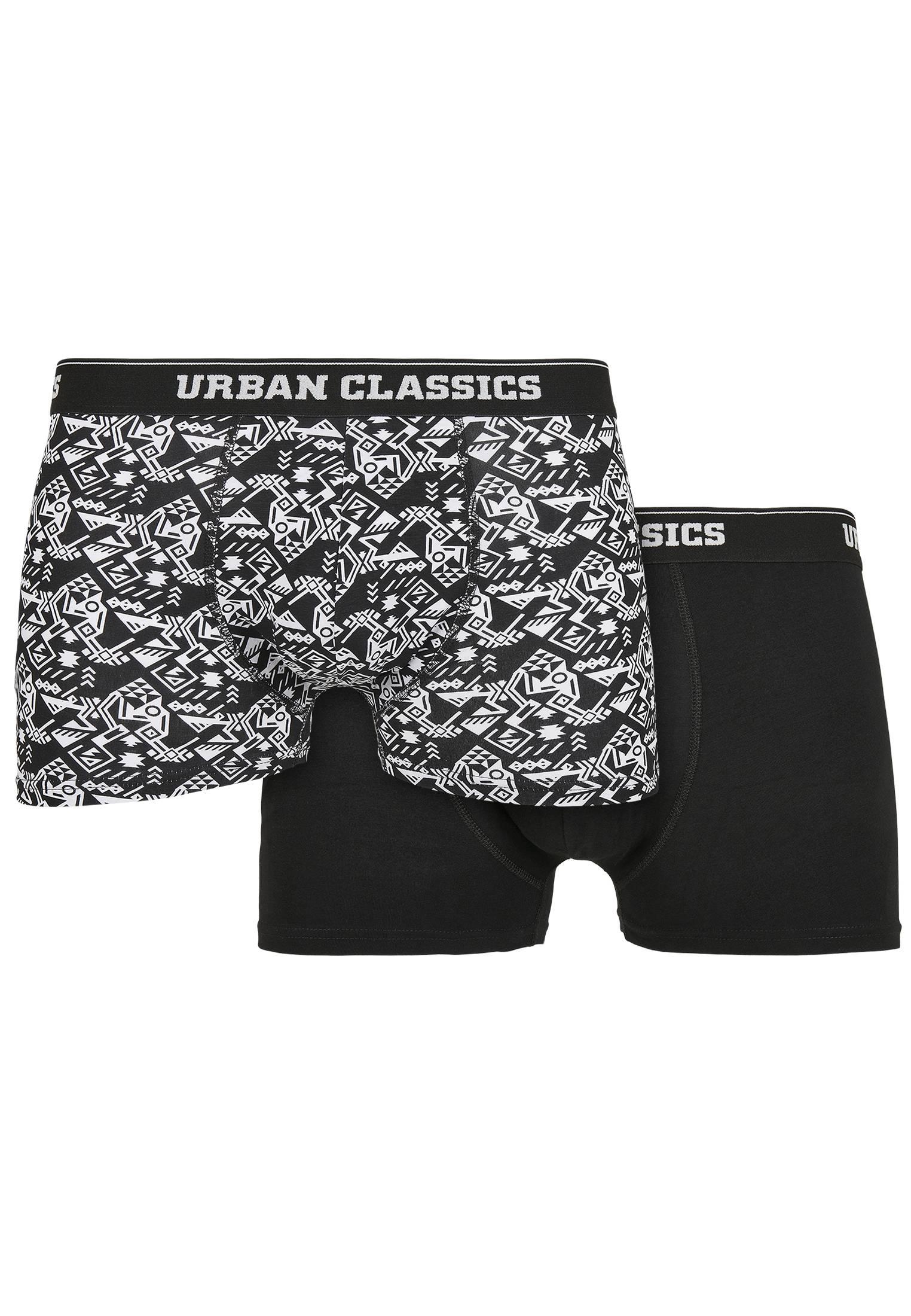 Urban Classics Organic Boxer Shorts 2-Pack detail aop+black - 3XL