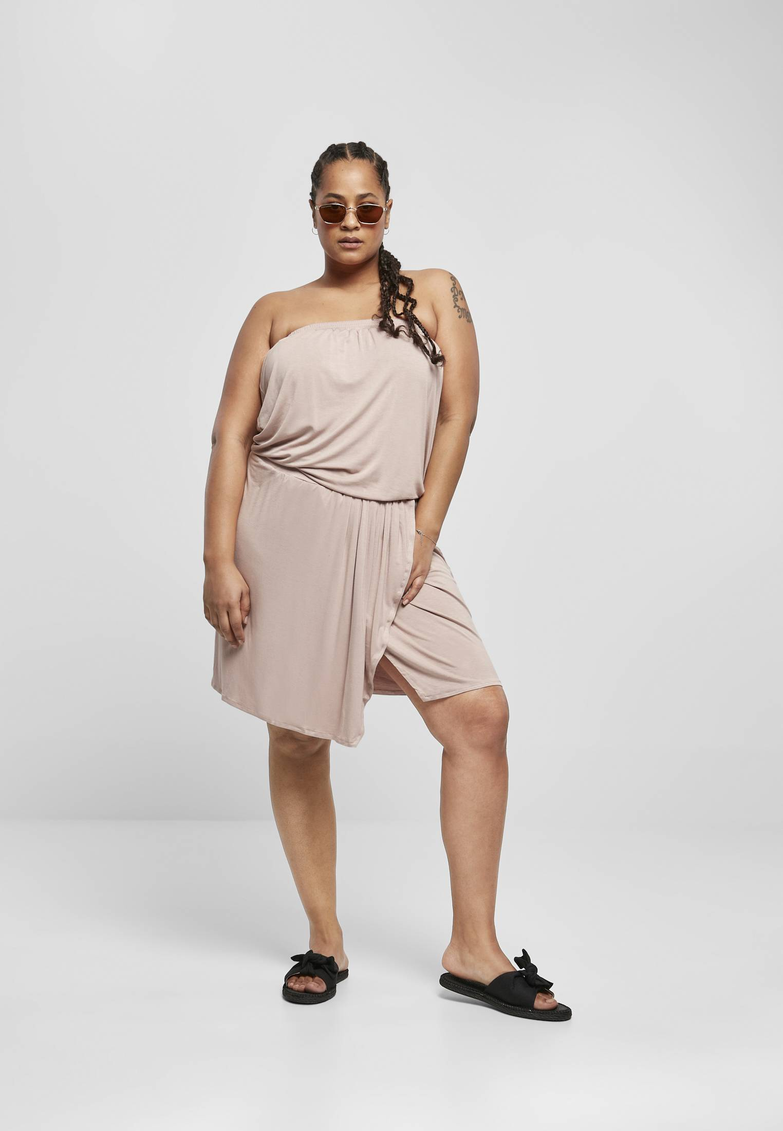 Urban Classics Ladies Viscose Short Bandeau Dress duskrose - 3XL
