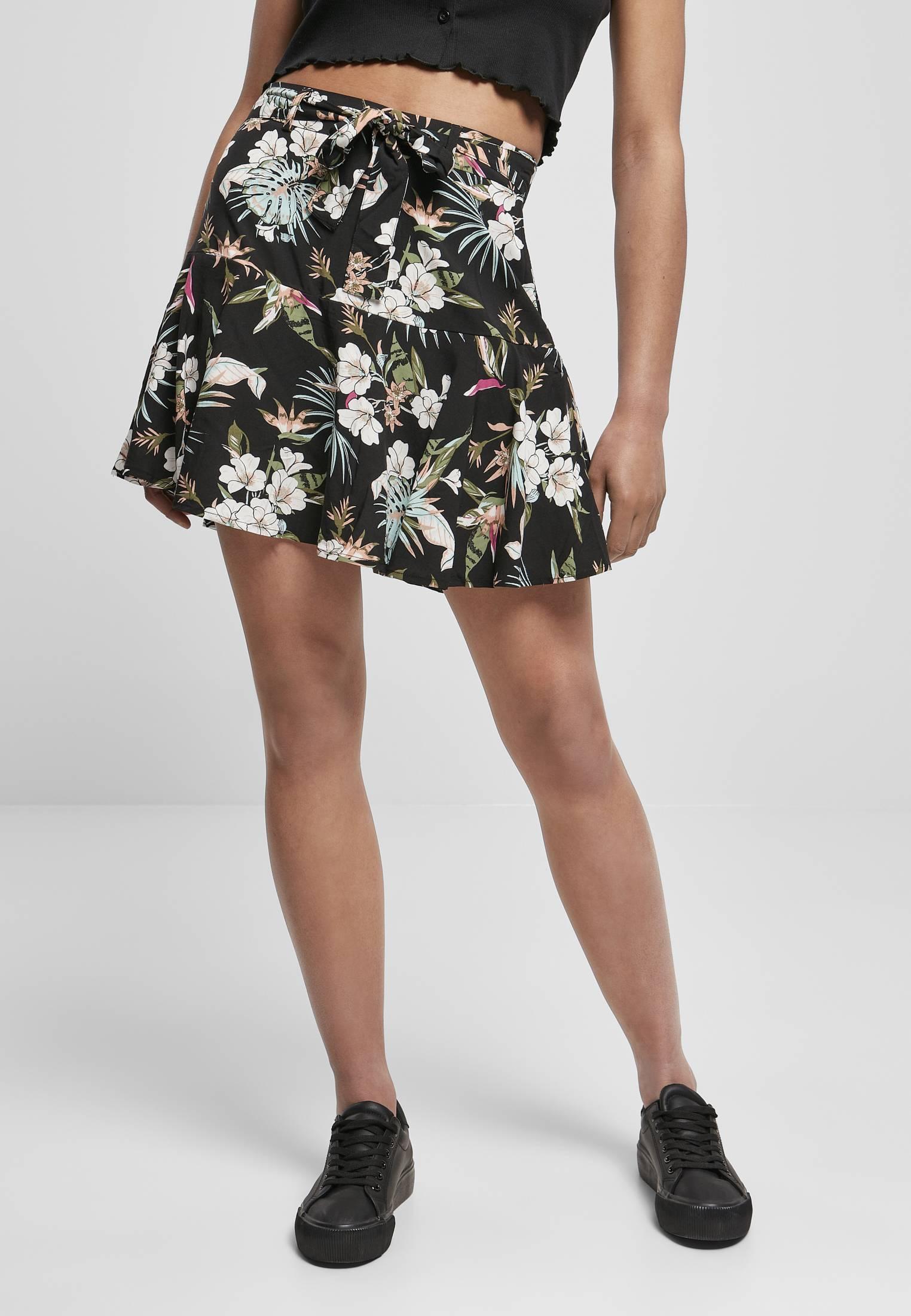 Urban Classics Ladies Viscose Mini Skirt black tropical - 3XL