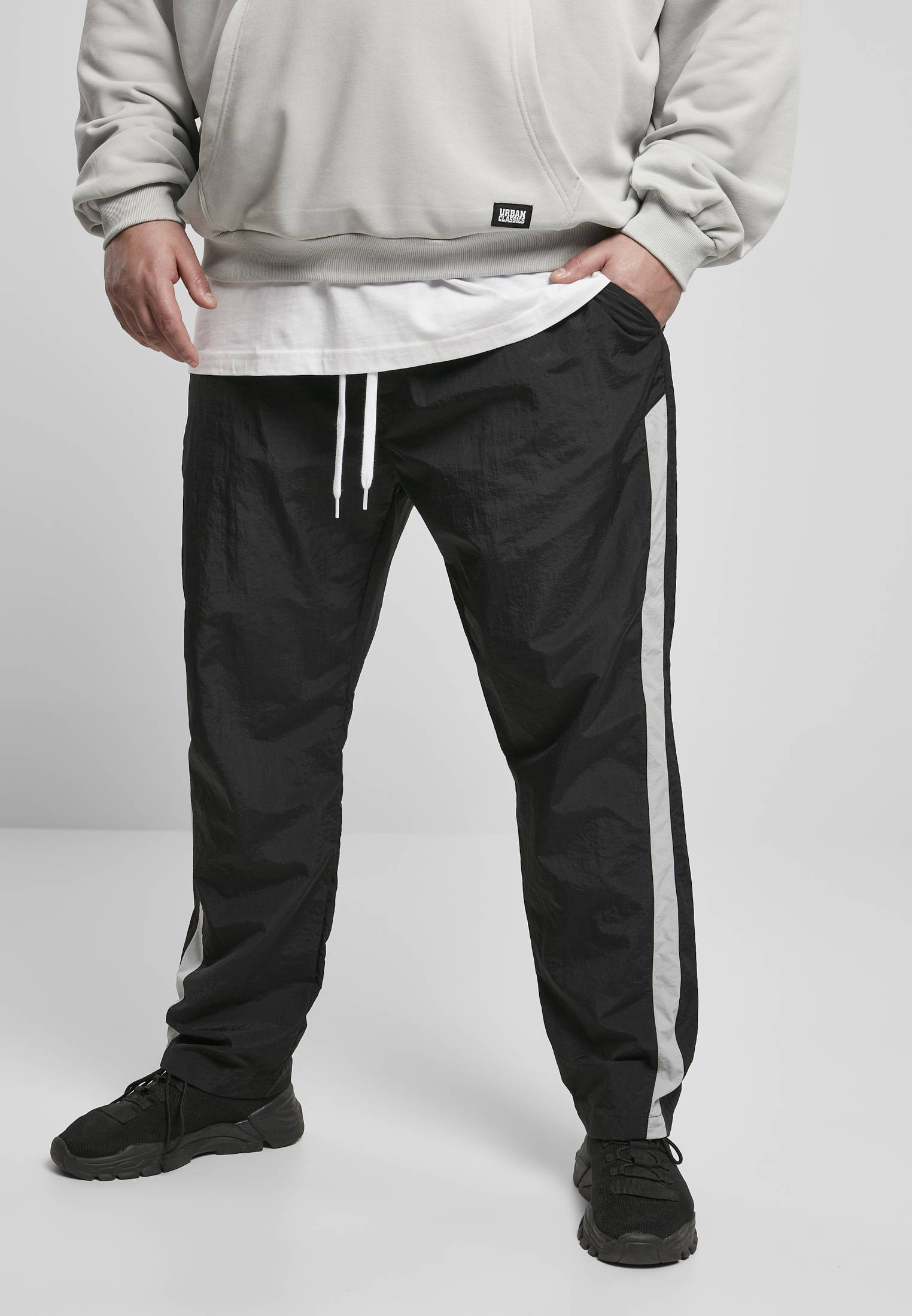 Urban Classics Side Stripe Nylon Pants black/lightasphalt - 3XL