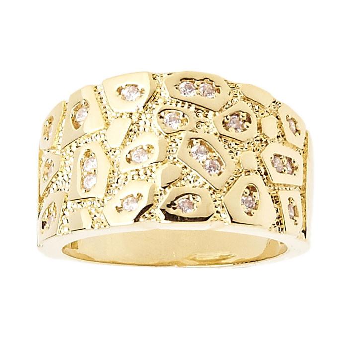 Iced Out Bling Hip Hop Designer Ring - NUGGET gold - 10