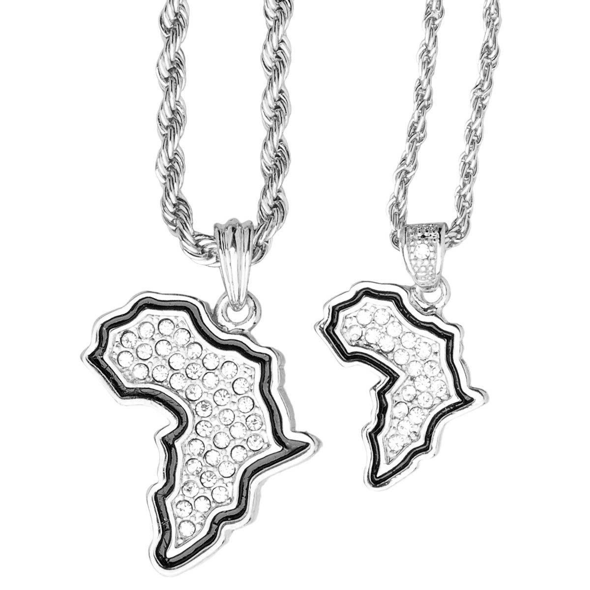 Iced Out Bling Mini Pendant Chain Set - 2 x AFRICA silver - Uni / strieborná