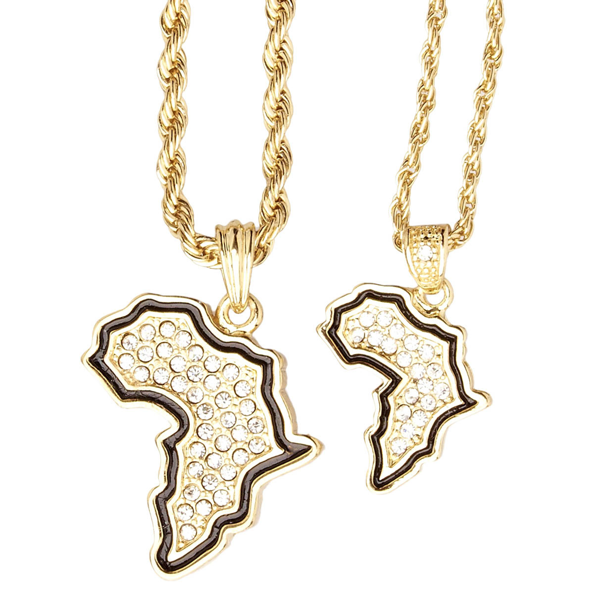 Iced Out Bling Mini Pendant Chain Set - 2 x AFRICA gold - Uni / zlatá