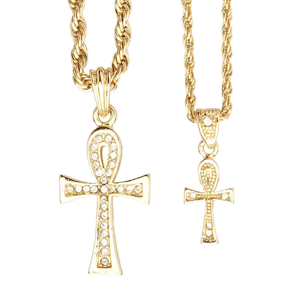 Iced Out Bling Mini Pendant Chain Set - 2 x Cross gold - Uni / zlatá