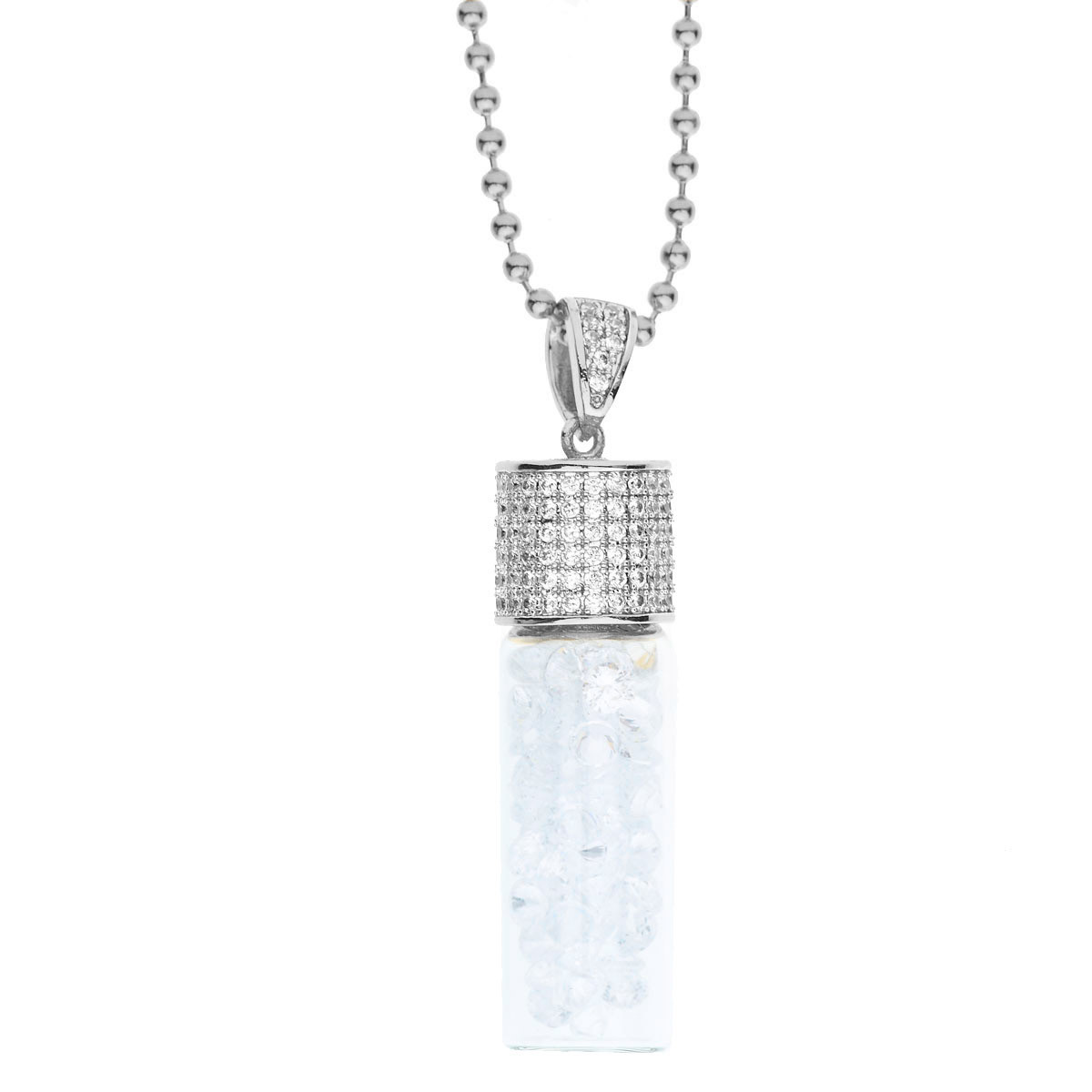 Iced Out Bling Micro Pave Chain - BOTTLE OF CZs silver - Uni / strieborná