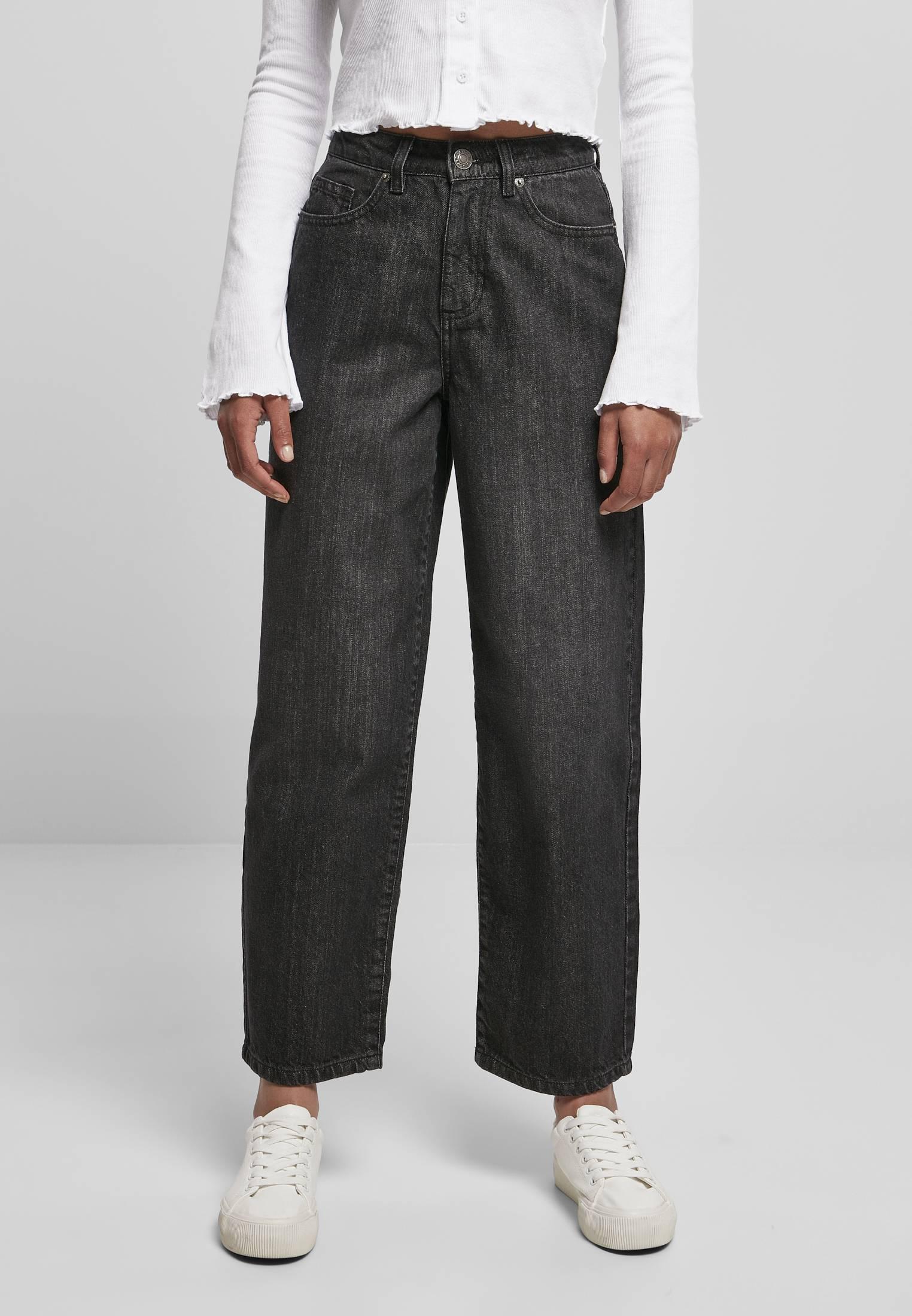 Urban Classics Ladies High Waist Wide Leg Cropped Denim Pants black washed - 28