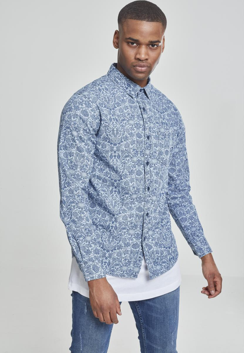 Urban Classics Printed Flower Denim Shirt light blue wash - S