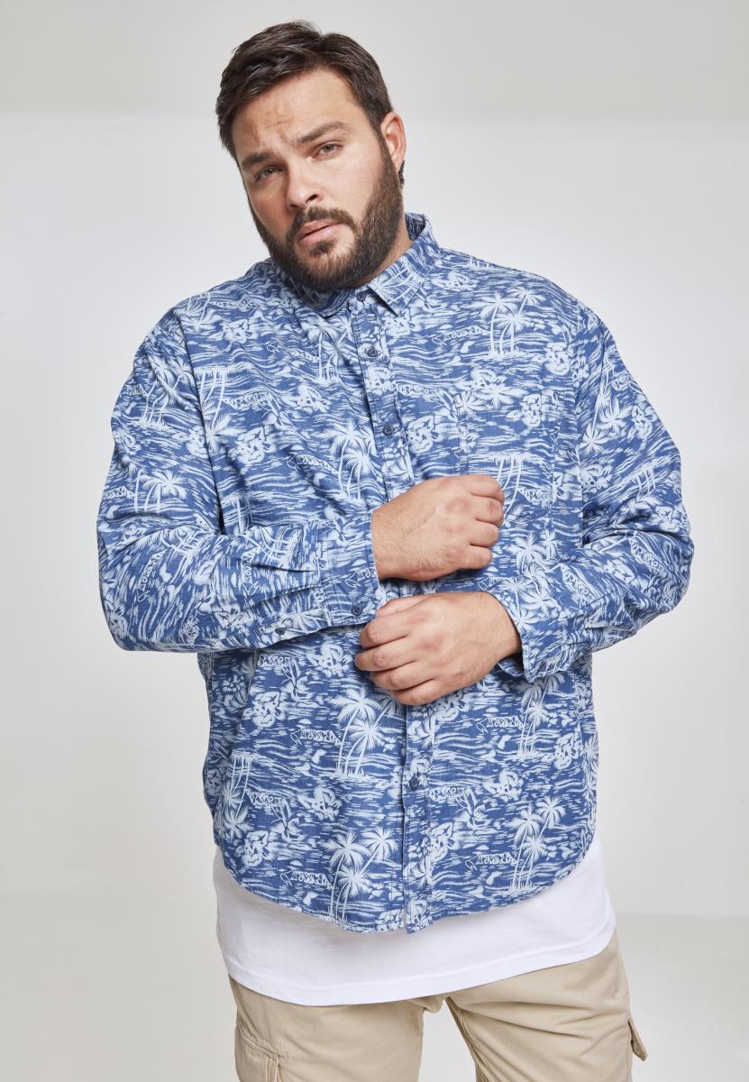 Urban Classics Printed Palm Denim Shirt light blue wash - L